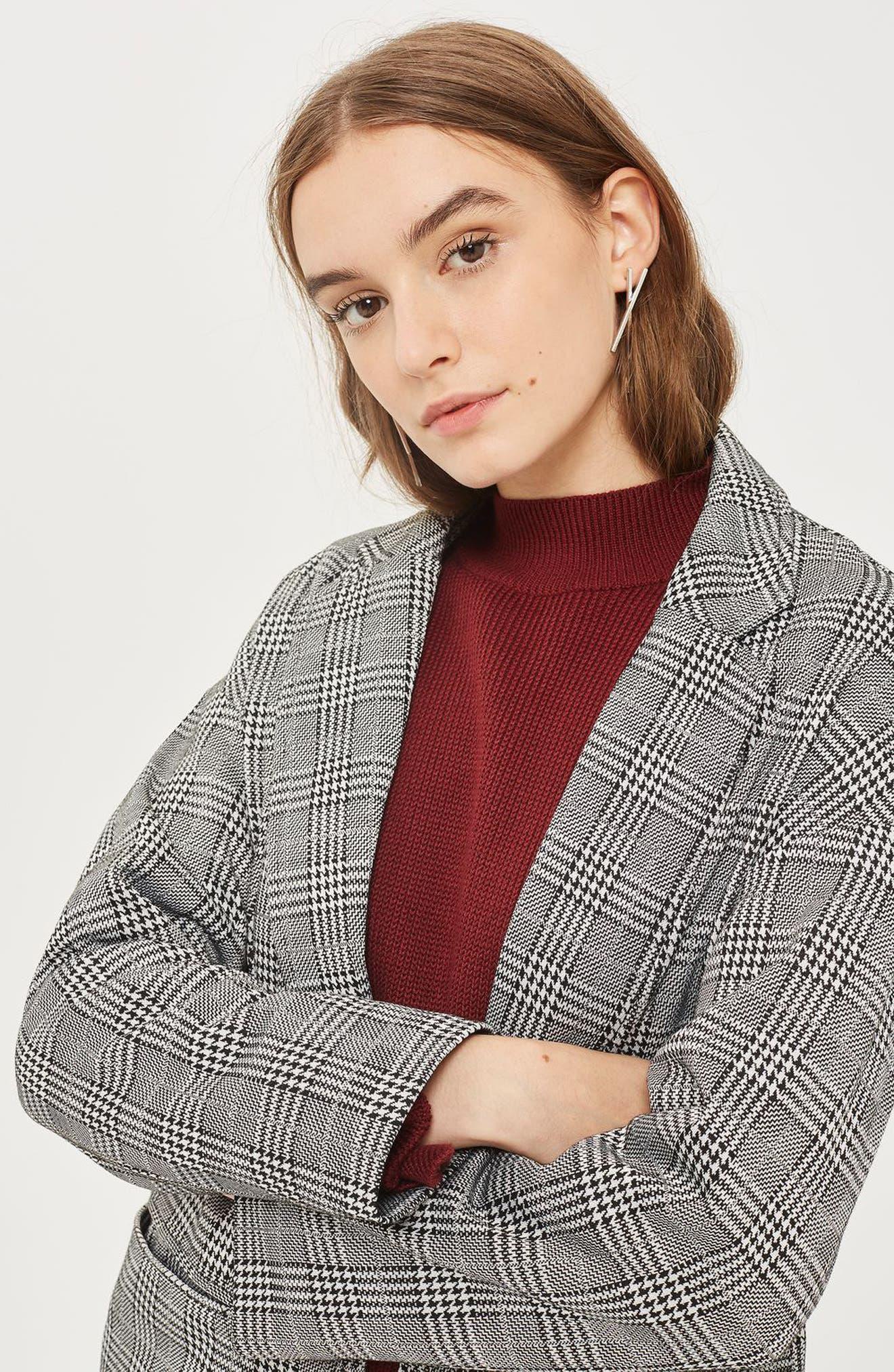 Checkered Pow Jersey Coat,                             Alternate thumbnail 4, color,                             001