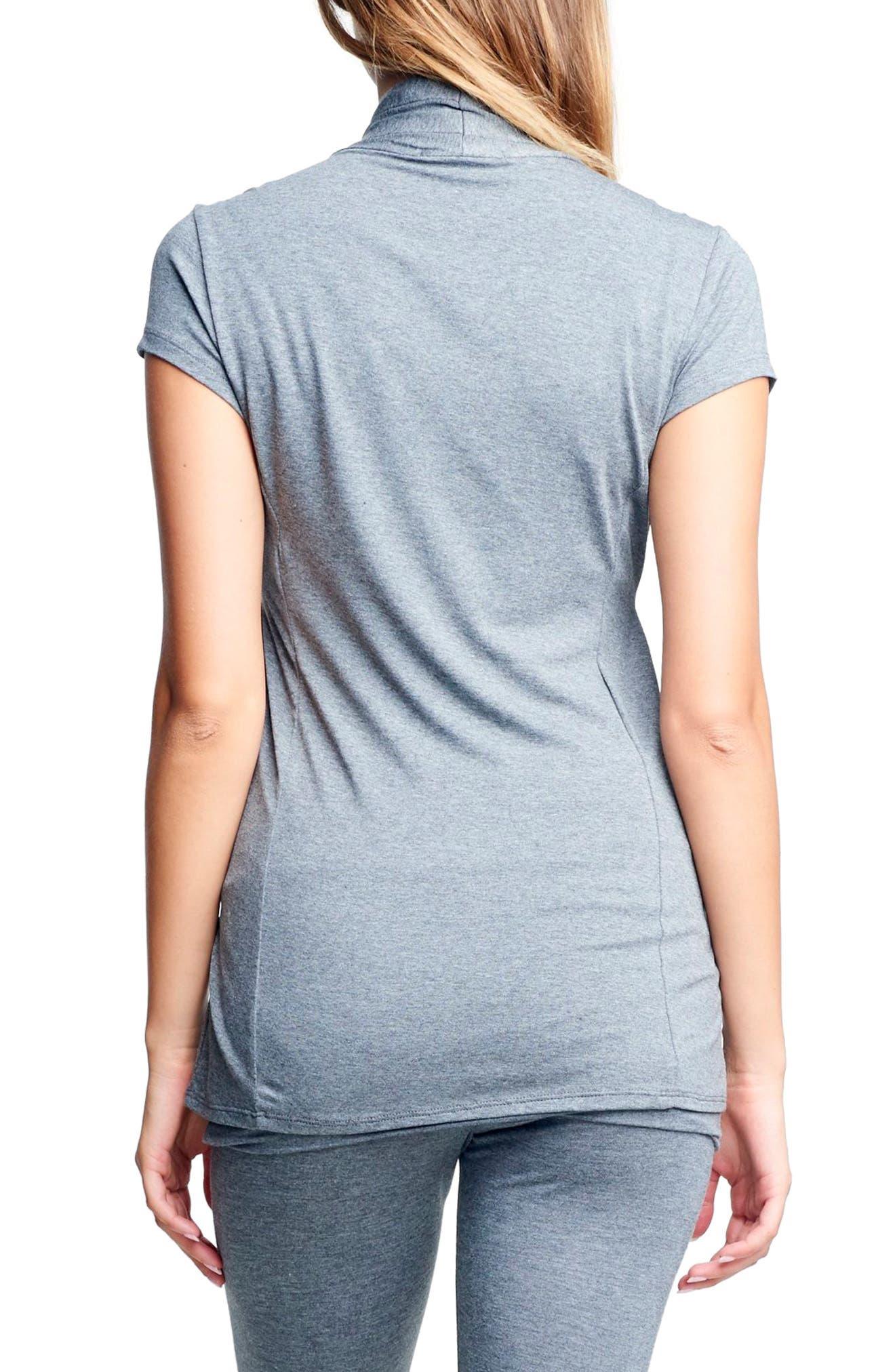 Cross Drape Maternity/Nursing Top,                             Alternate thumbnail 2, color,                             STONE GRAY