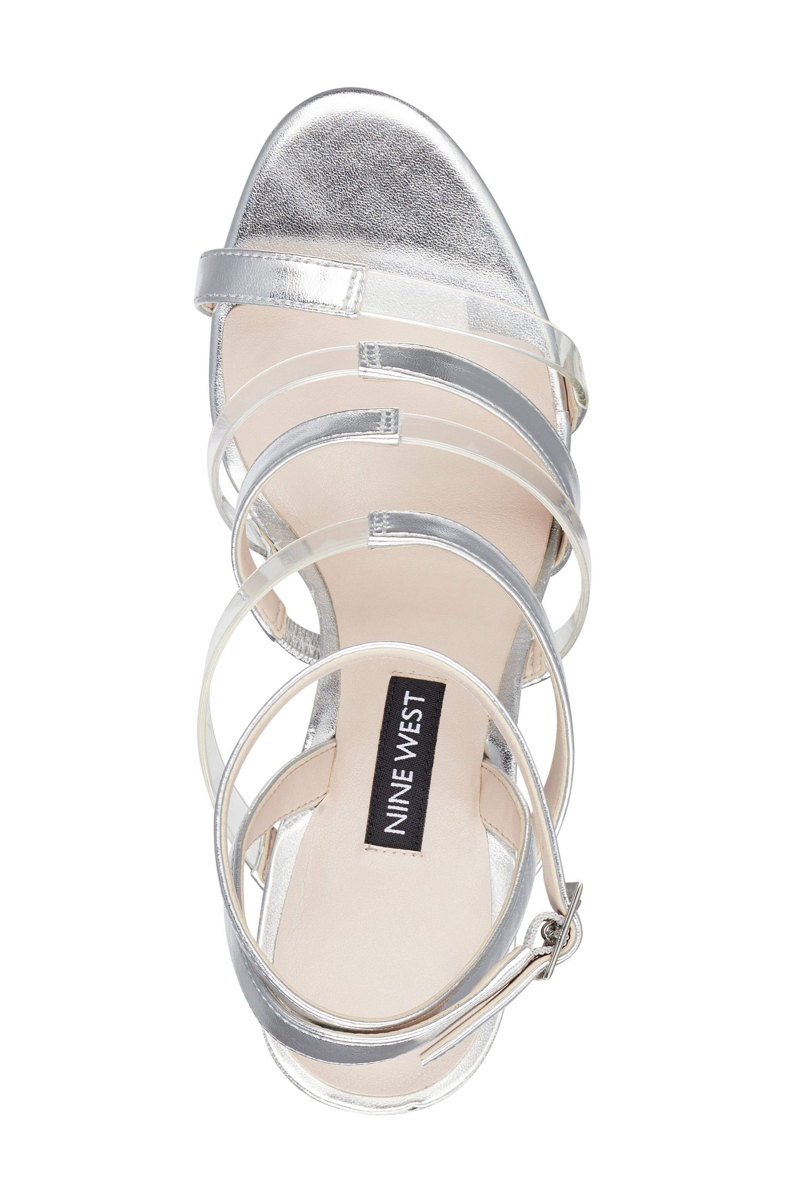 Fazzani Cage Sandal,                             Alternate thumbnail 5, color,                             CLEAR/ SILVER FAUX LEATHER