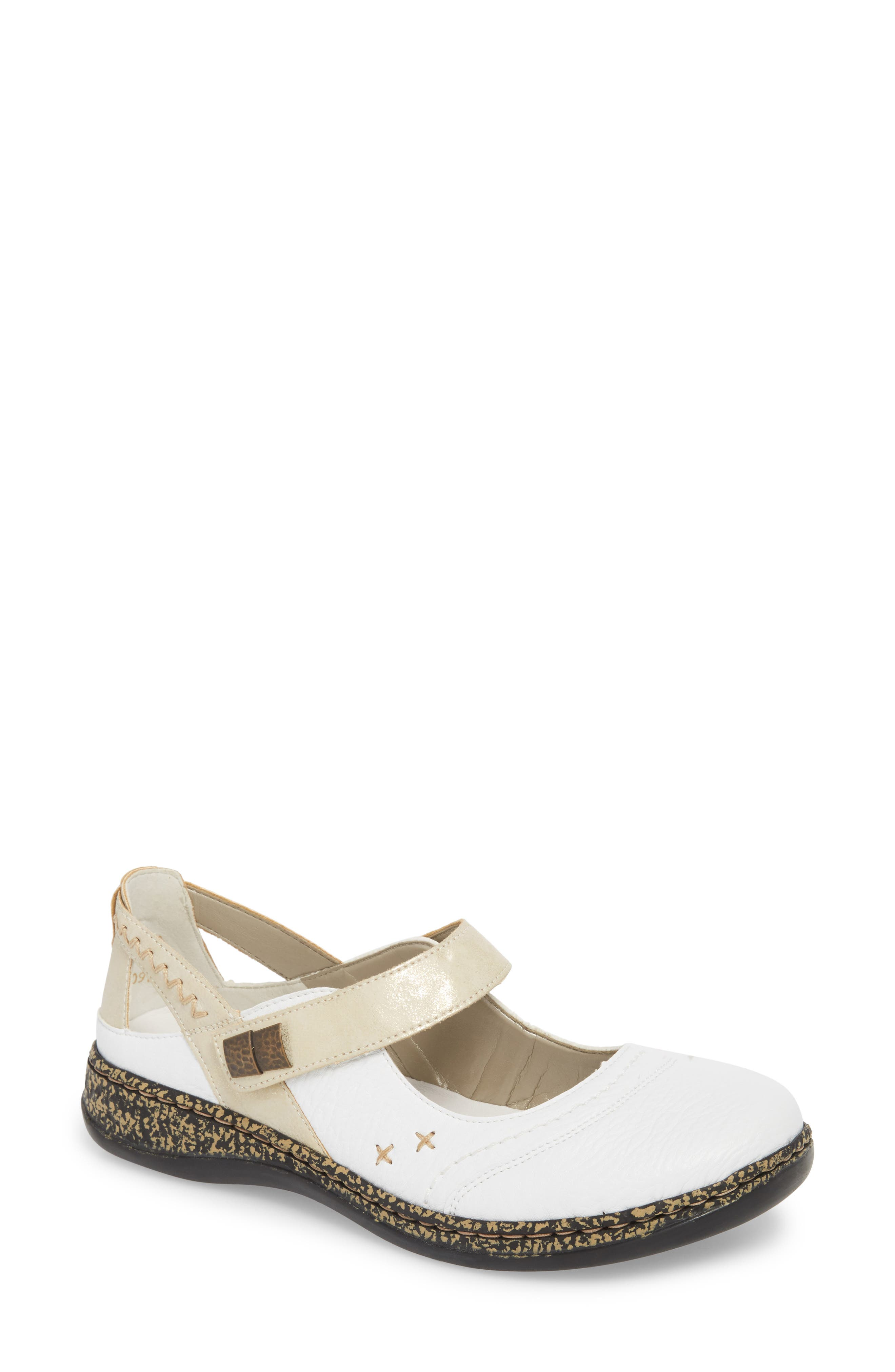 Daisy 78 Mary Jane Flat,                             Main thumbnail 1, color,                             WHITE/ GOLD SYNTHETIC LEATHER