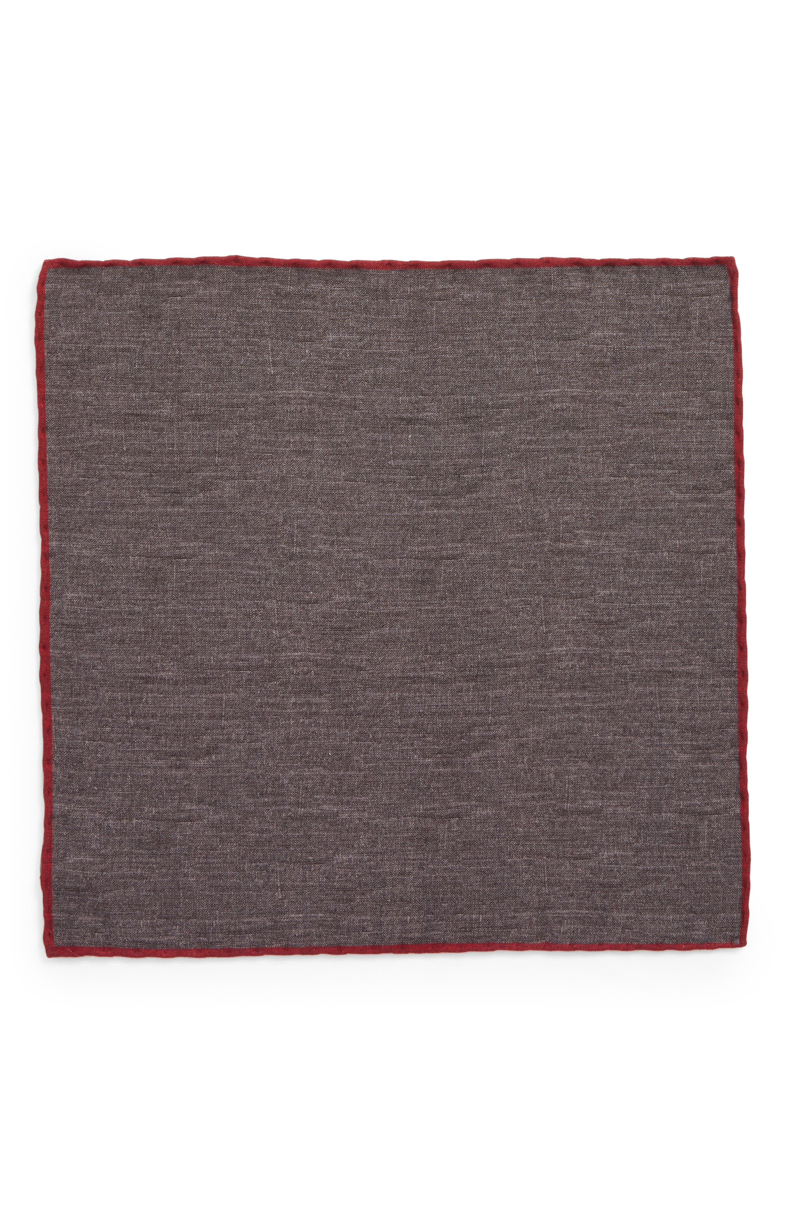 Solid Wool & Cotton Pocket Square,                             Alternate thumbnail 2, color,                             CHARCOAL