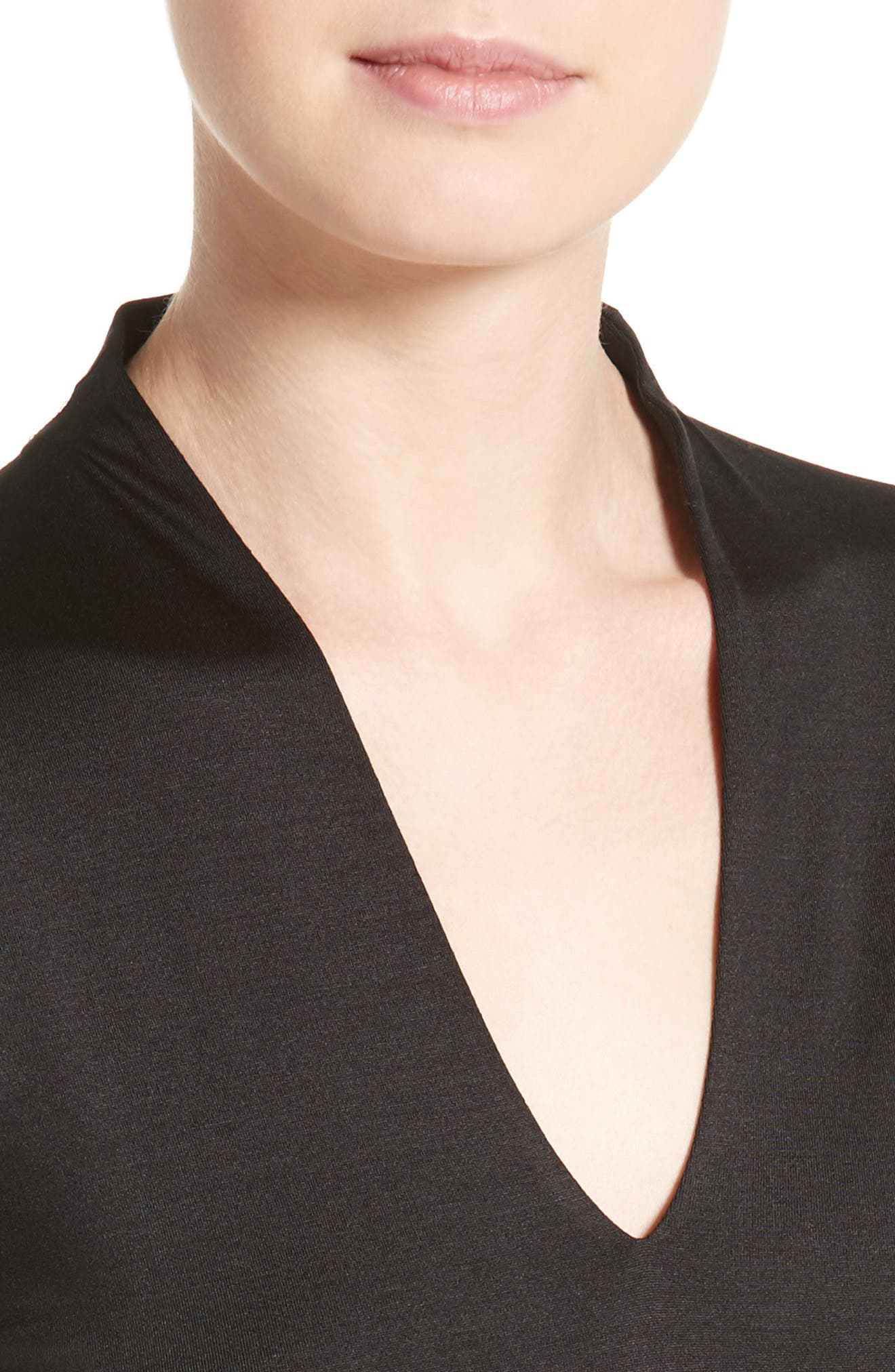 Long Sleeve Silk Jersey Blouse,                             Alternate thumbnail 4, color,                             BLACK