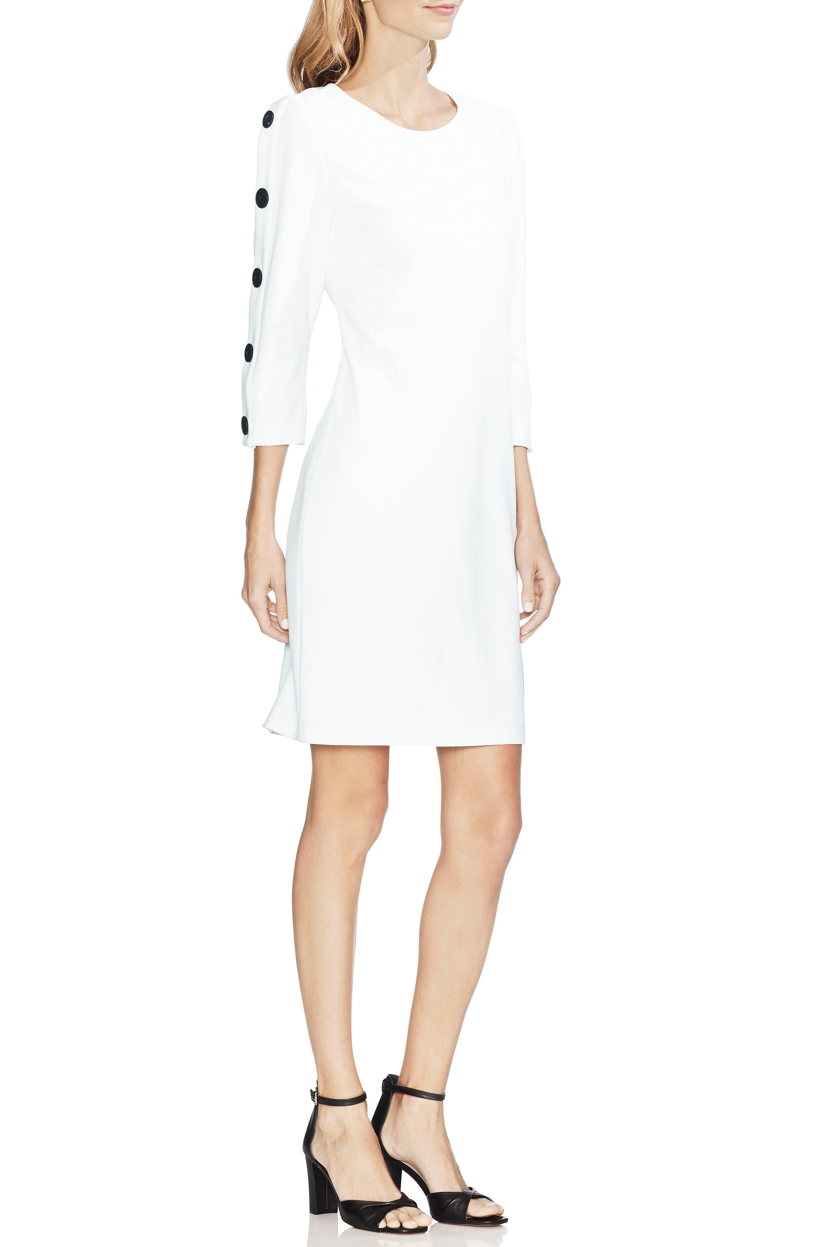 Vince Camuto Button Sleeve Sheath Dress, Ivory