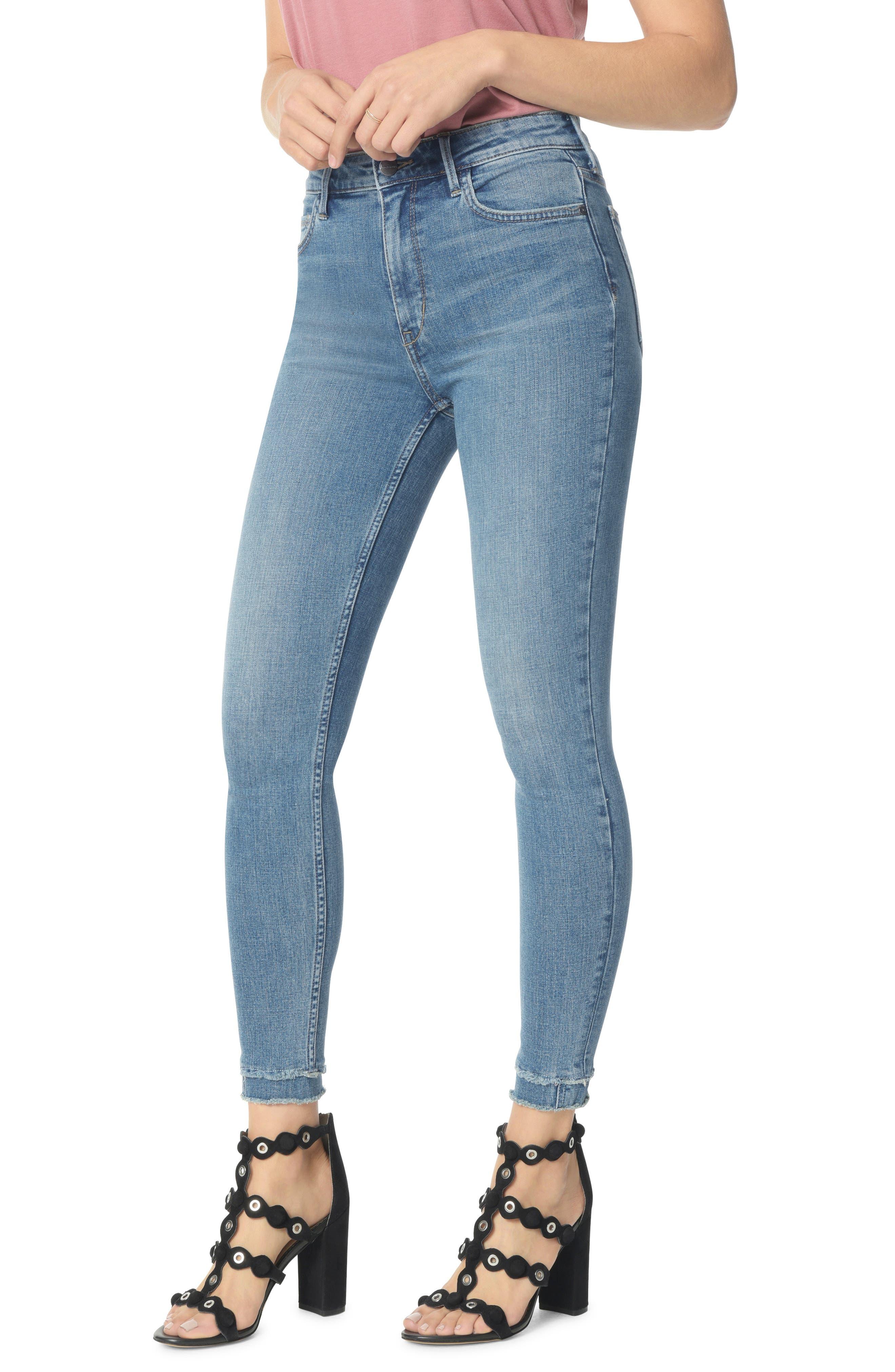 The Stiletto High Waist Double Hem Ankle Skinny Jeans,                             Main thumbnail 1, color,                             MARKIE