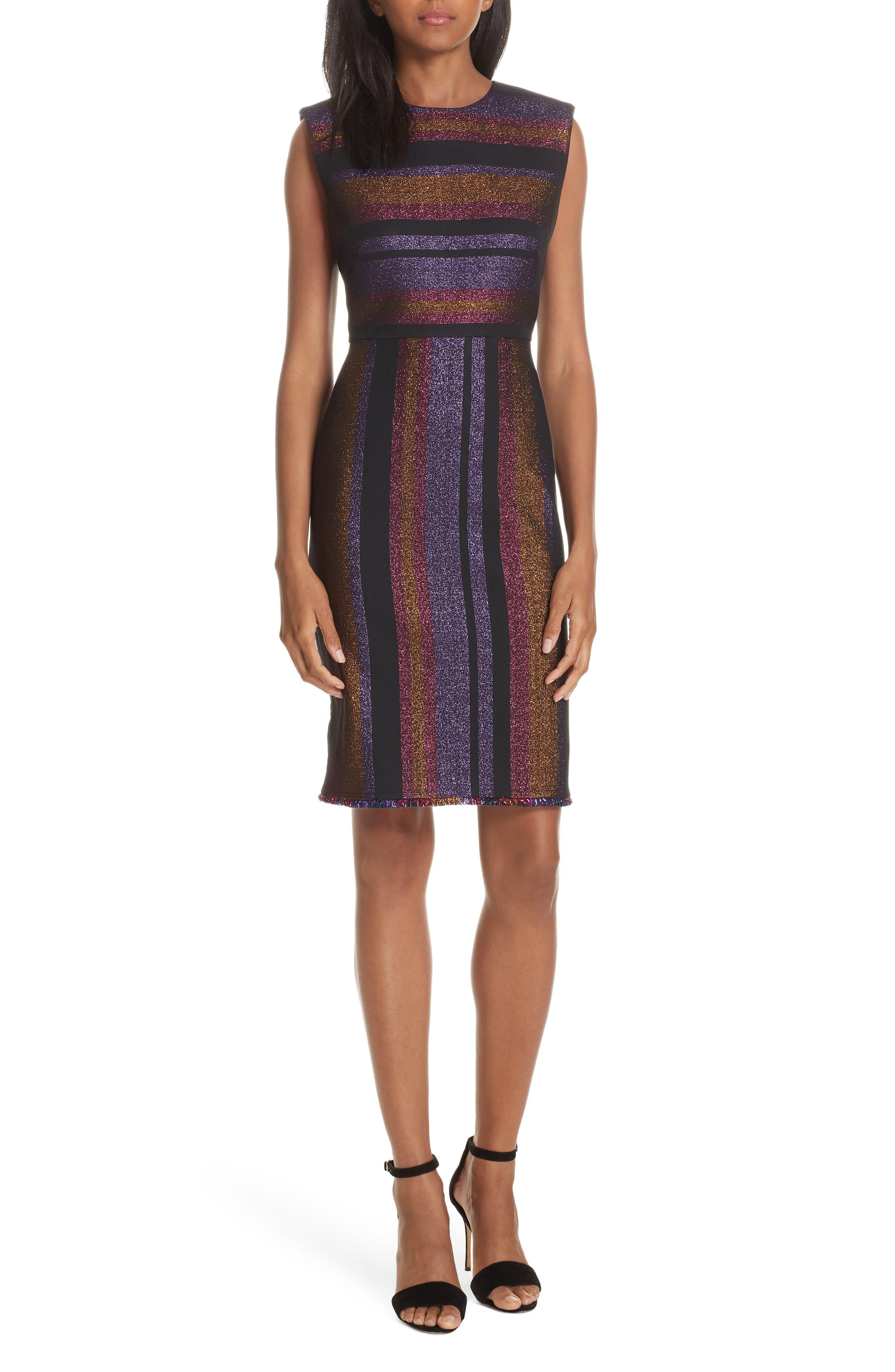Dvf Metallic Stripe Sheath Dress