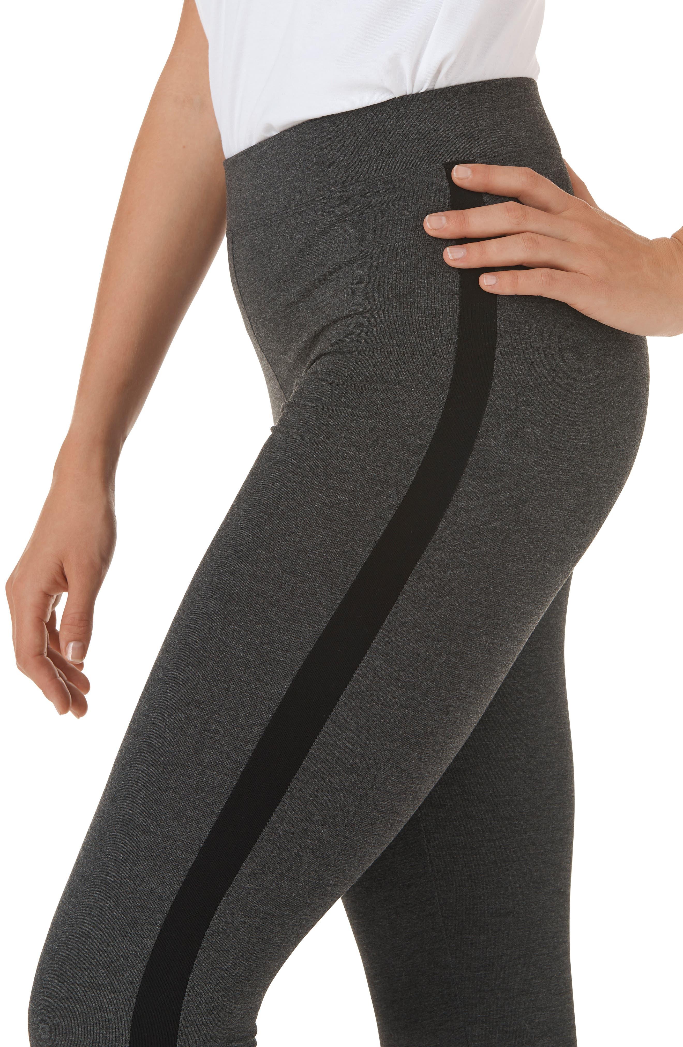 Stripe High Waist Leggings,                             Alternate thumbnail 4, color,                             DCM W/ BLACK