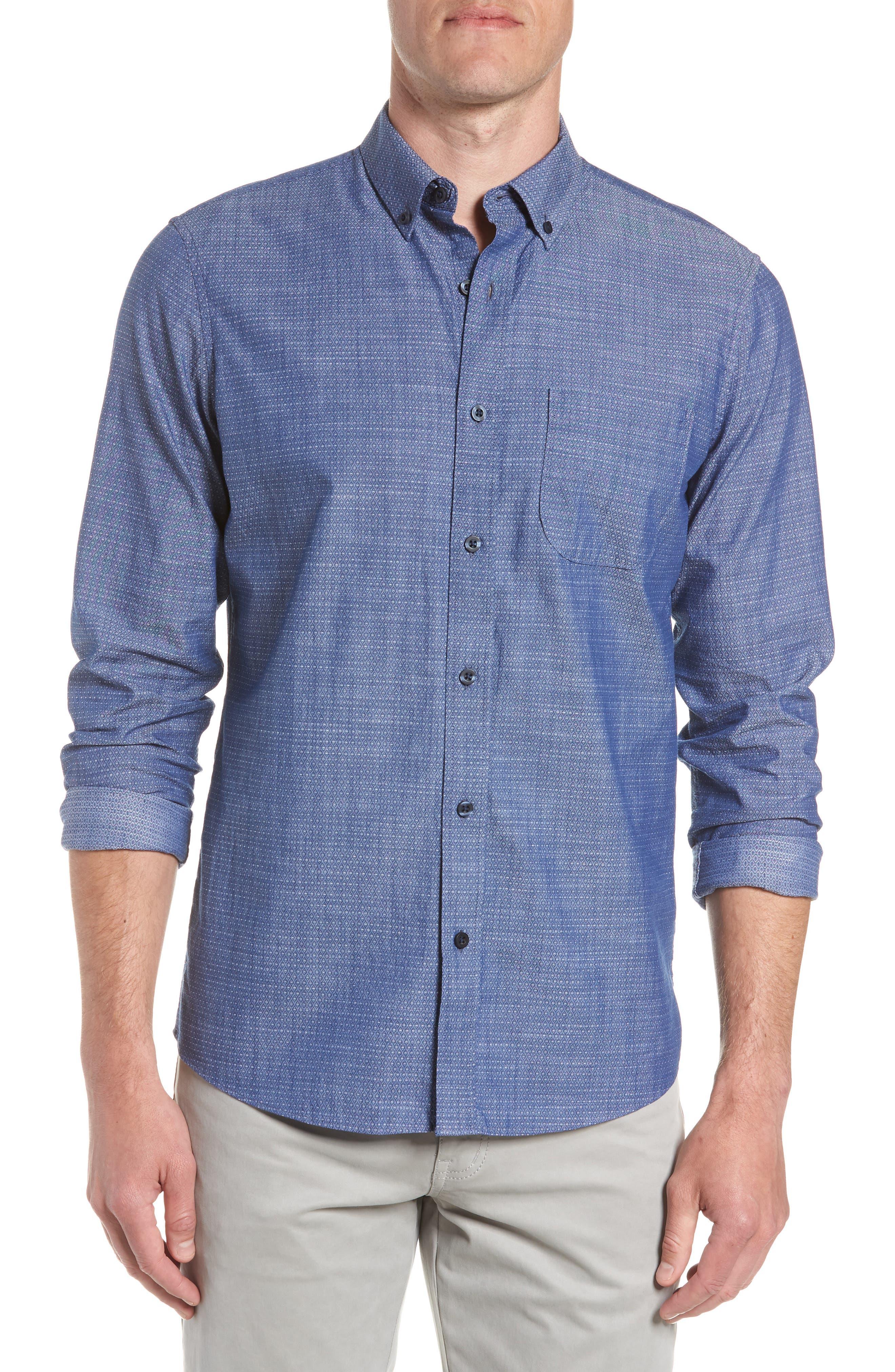Trim Fit Jacquard Print Sport Shirt,                         Main,                         color, 410