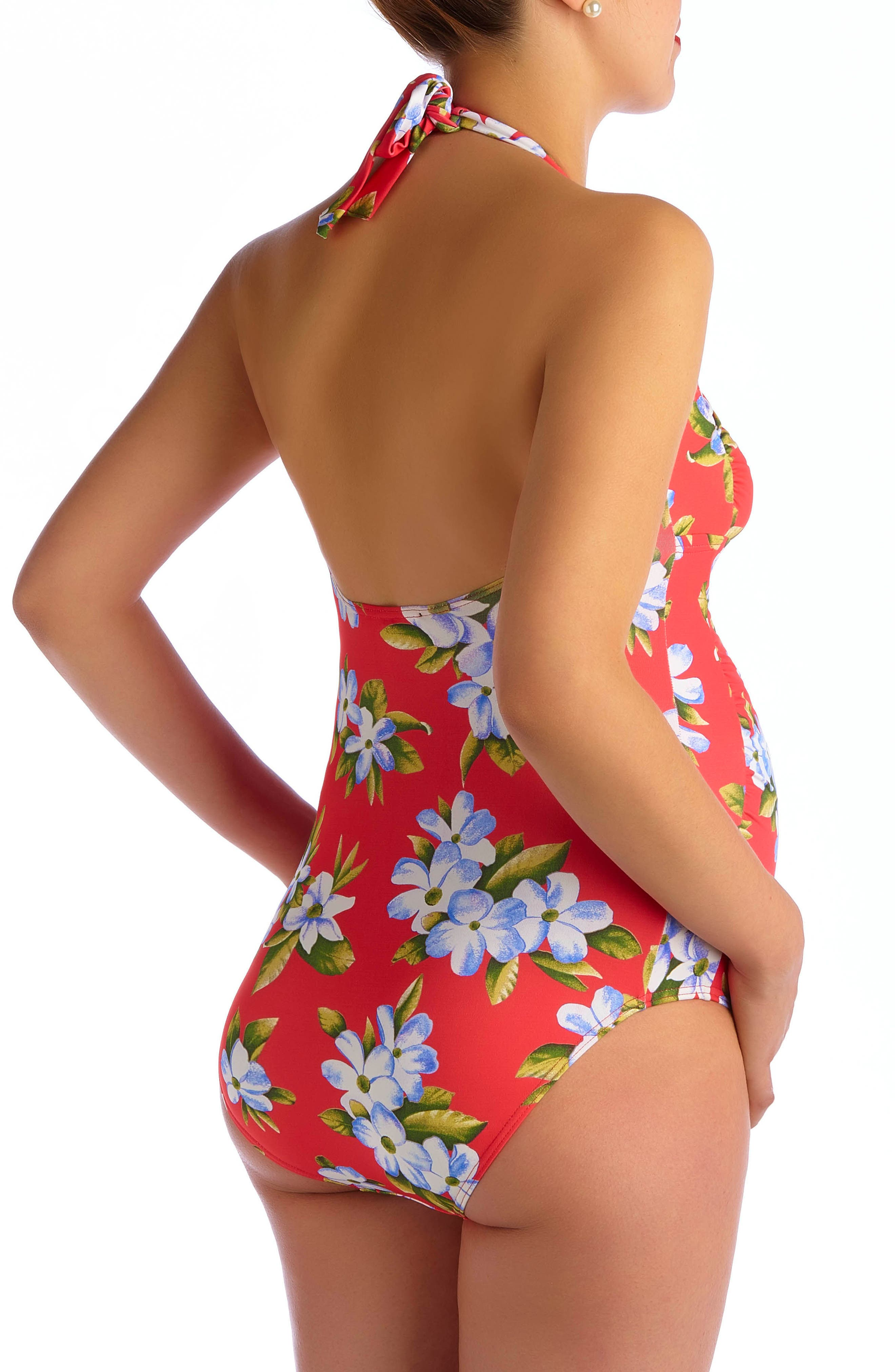 Maui Hibiscus One-Piece Maternity Swimsuit,                             Alternate thumbnail 2, color,                             CORAL