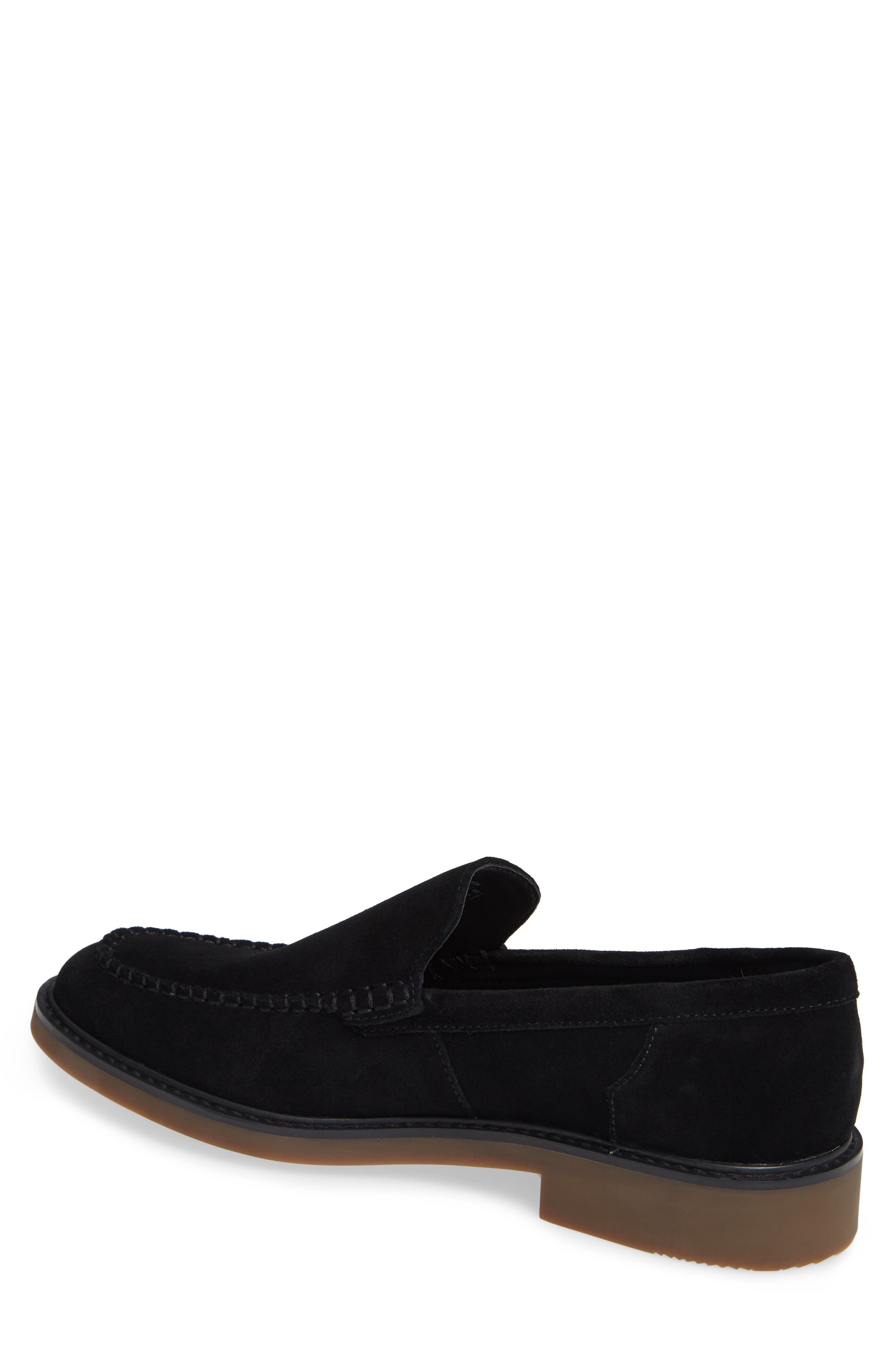 Vance Apron Toe Loafer,                             Alternate thumbnail 2, color,                             BLACK CALF SUEDE