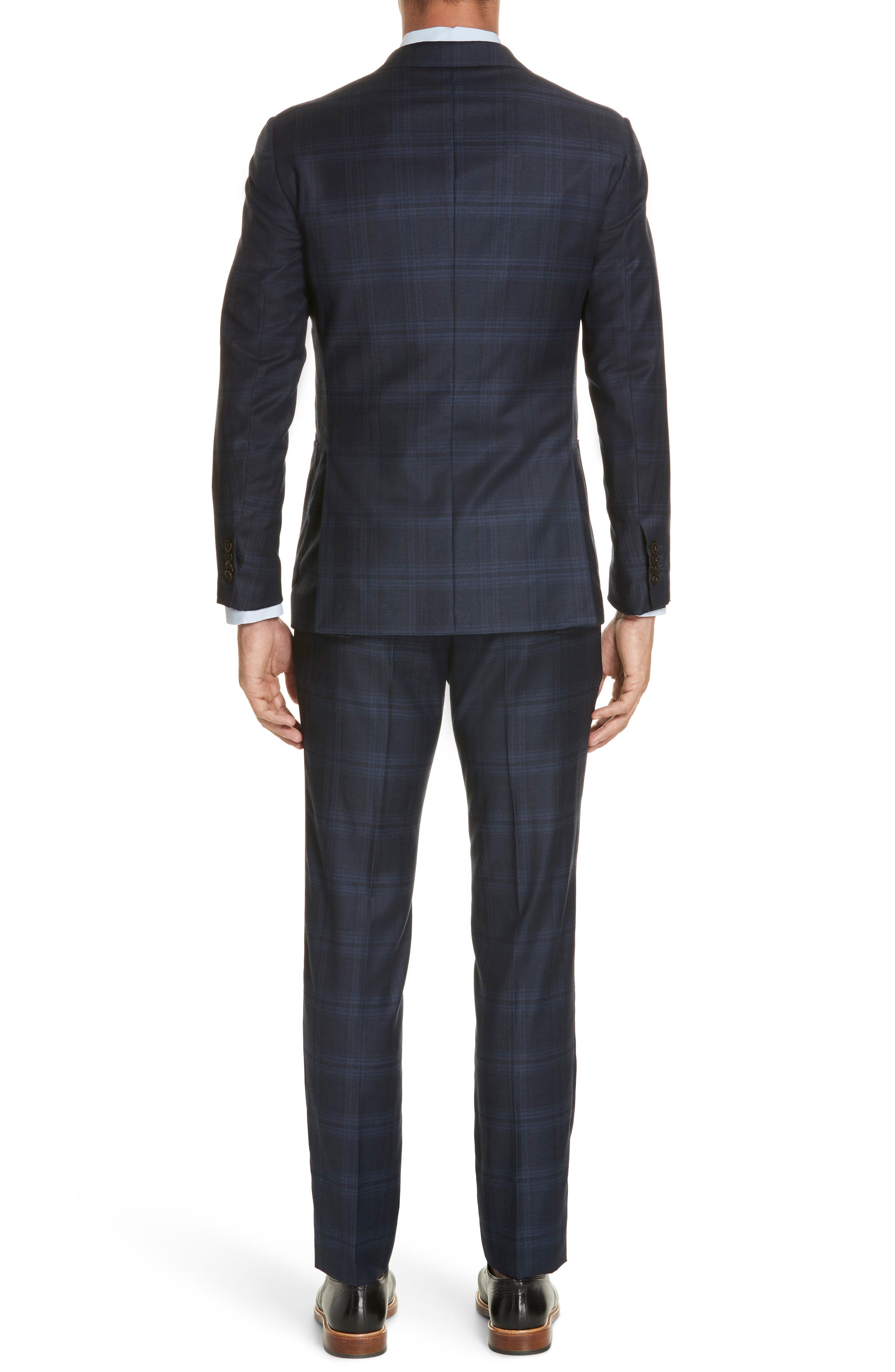 Trim Fit Plaid Wool & Cashmere Suit,                             Alternate thumbnail 2, color,                             CHARCOAL/ BLUE