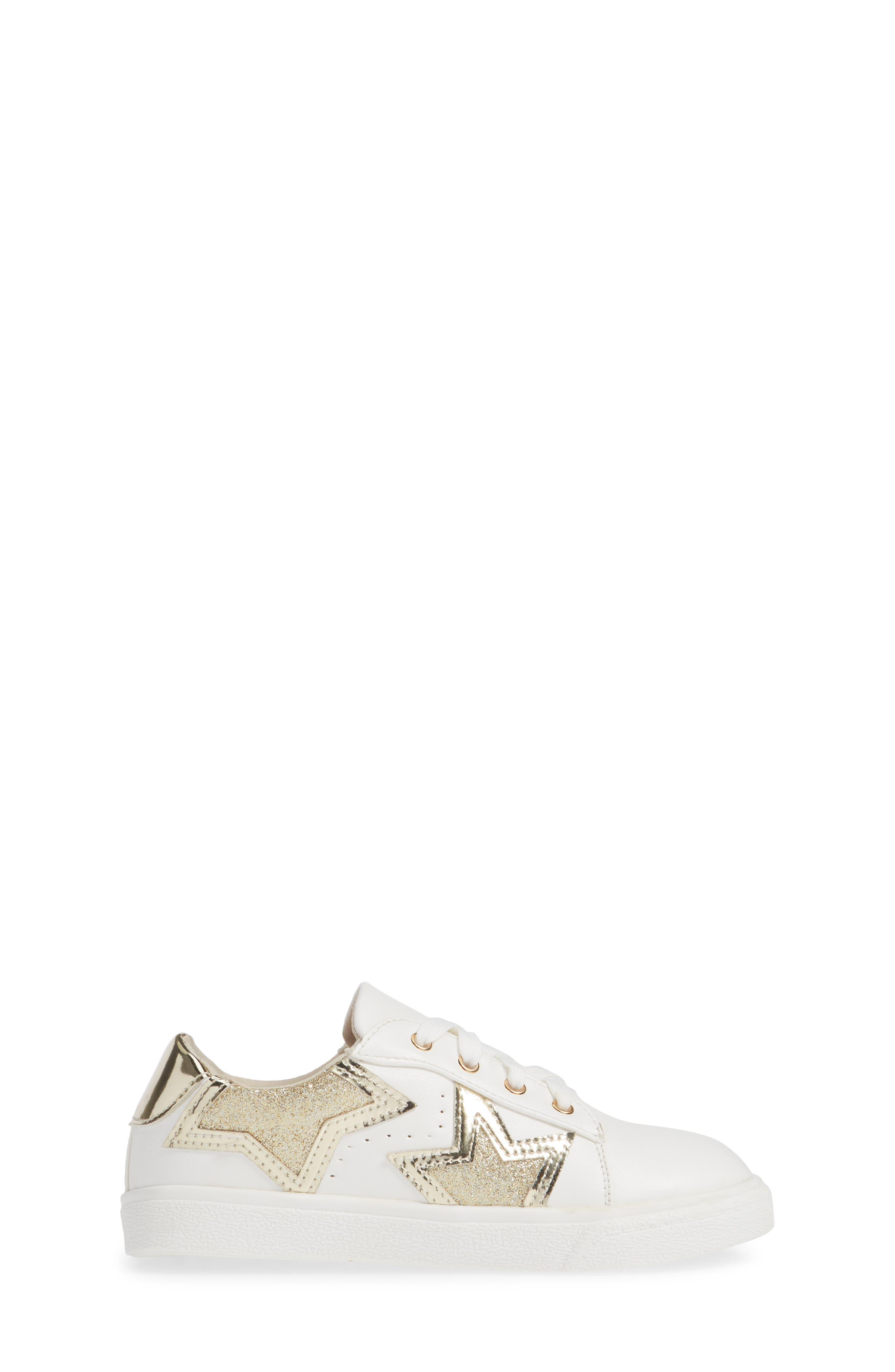 Miss Harper Appliqué Glitter Sneaker,                             Alternate thumbnail 3, color,                             WHITE W/ GOLD STAR