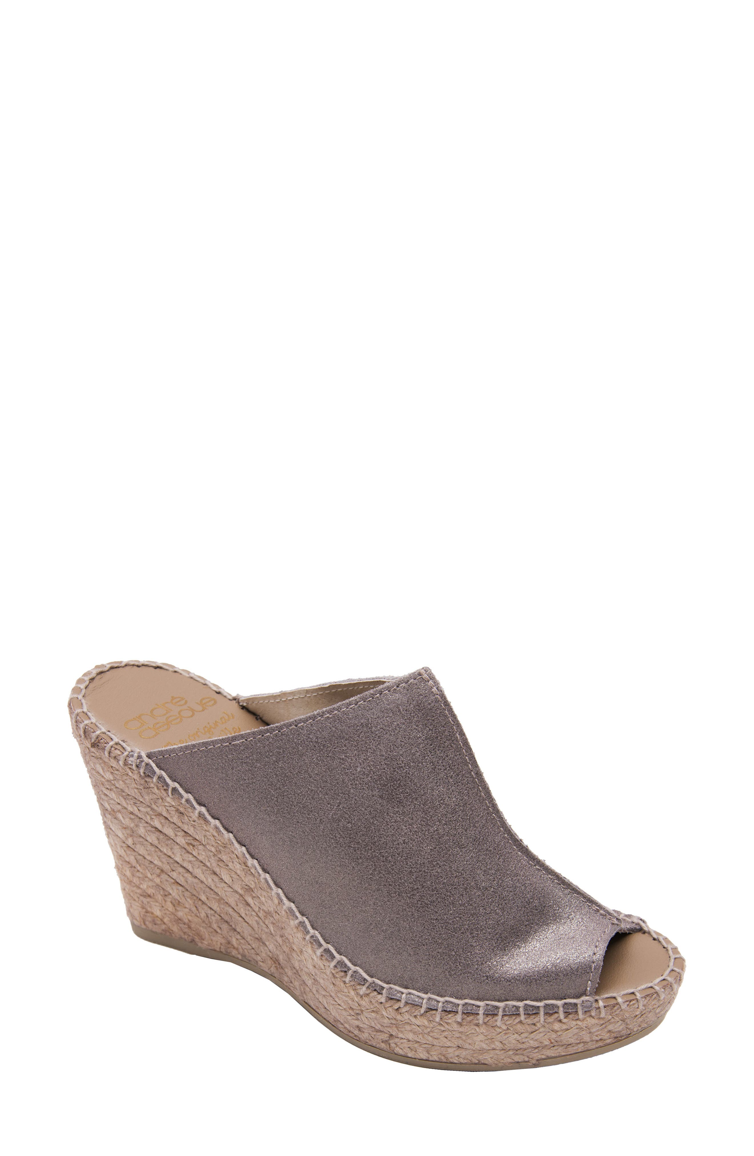 ANDRE ASSOUS Cici Espadrille Wedge in Pewter Suede