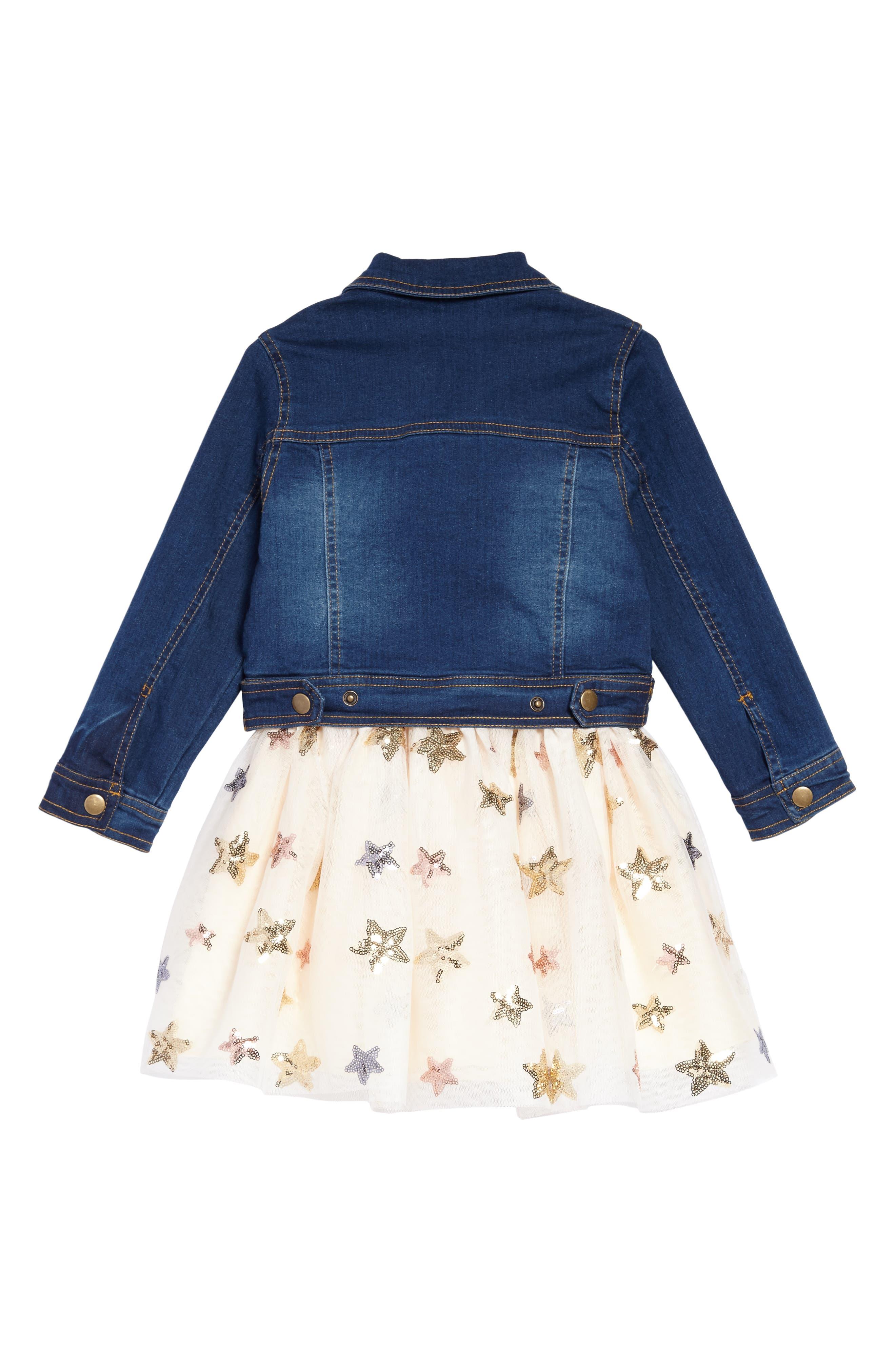 Sequin Star Tank Dress & Denim Jacket Set,                             Alternate thumbnail 3, color,
