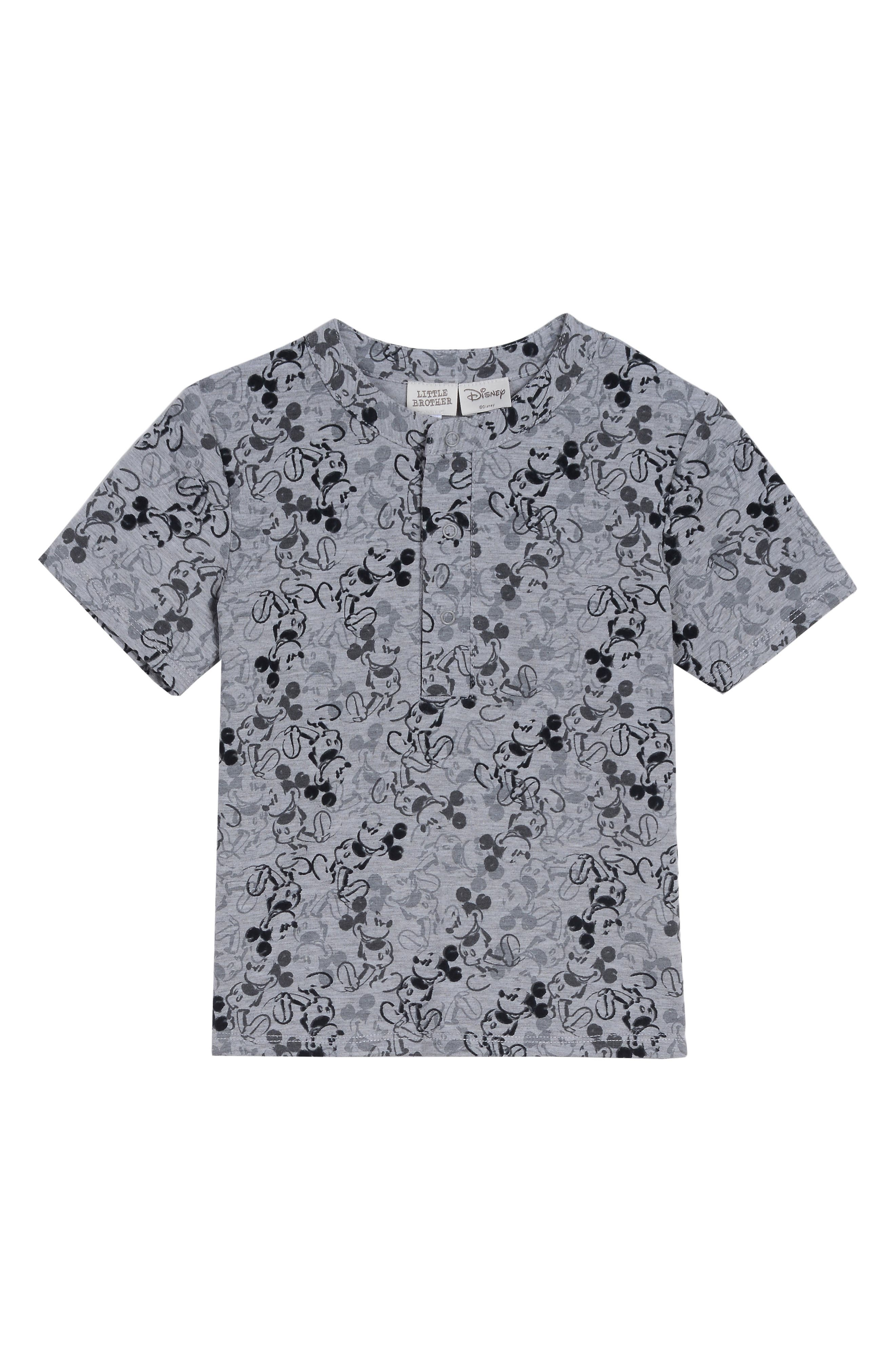 x Disney Plaid Shirt, T-Shirt & Pants Set,                             Alternate thumbnail 3, color,                             BLACK / GREY