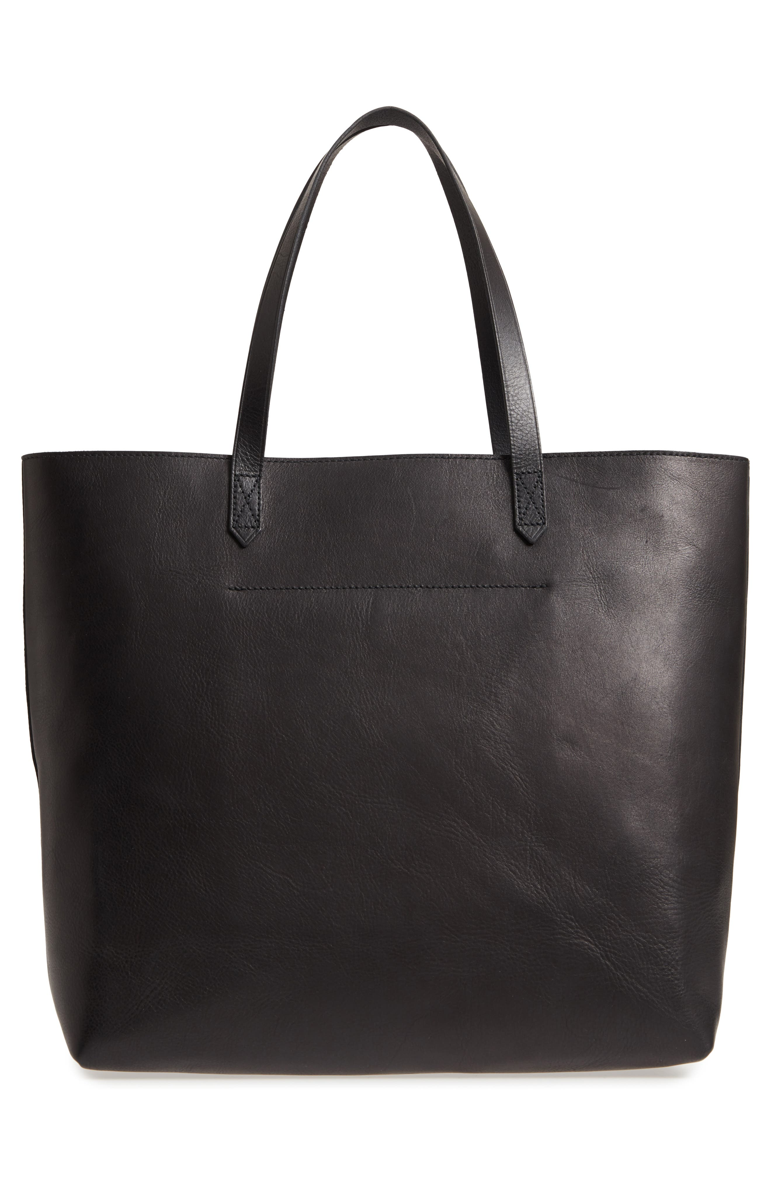 Zip Top Transport Leather Tote,                             Alternate thumbnail 3, color,                             TRUE BLACK