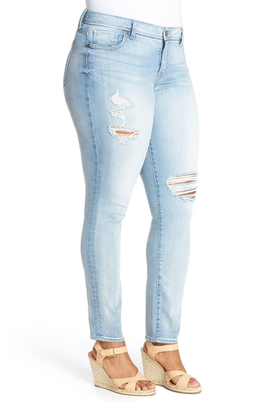 'Adele' Ripped Stretch Slouchy Boyfriend Jeans,                             Alternate thumbnail 3, color,                             UPGRADE