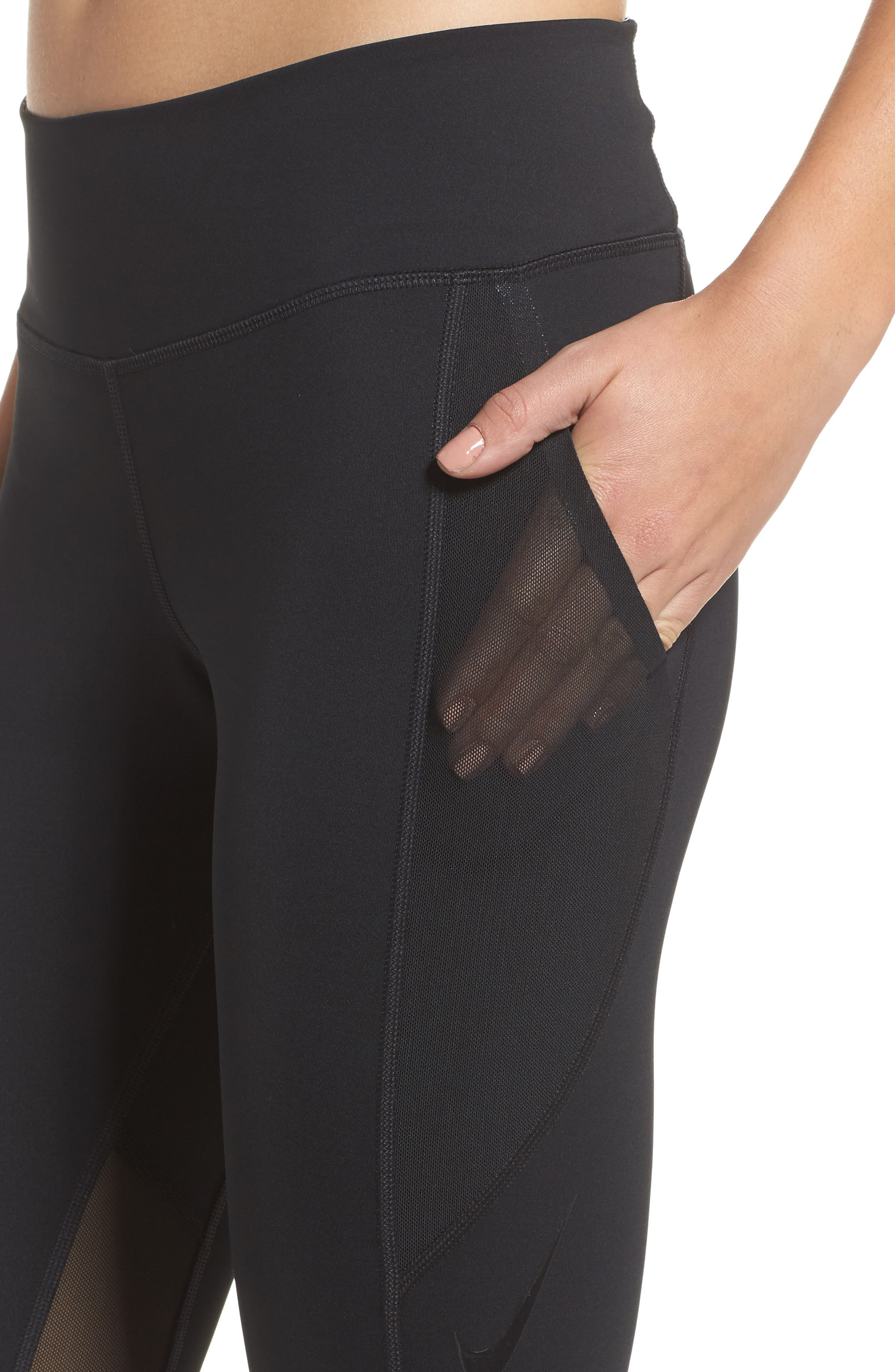 Power Pocket Lux Ankle Tights,                             Alternate thumbnail 4, color,                             BLACK/ BLACK/ CLEAR