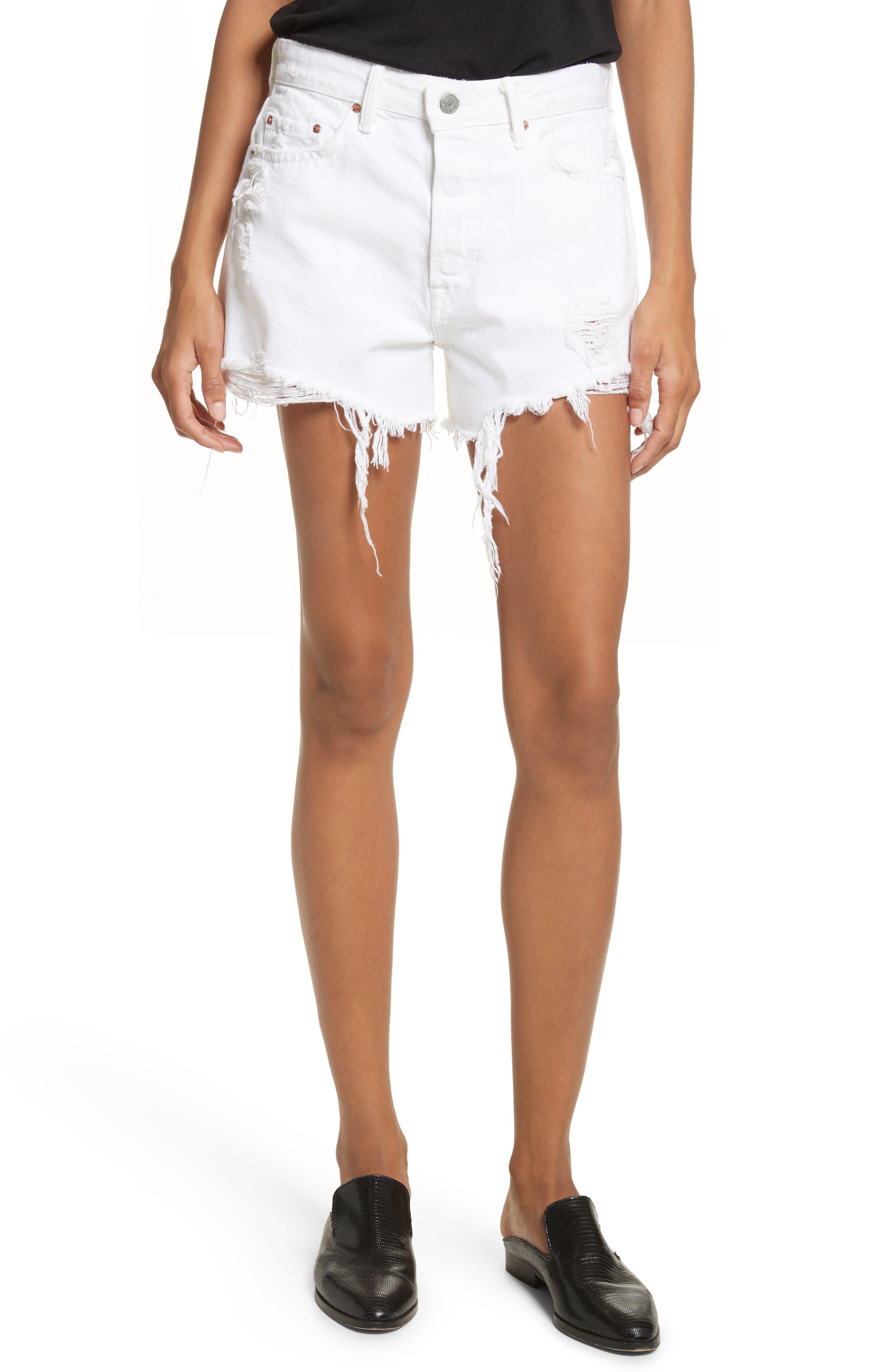 Helena High Waist Denim Shorts,                         Main,                         color, 100