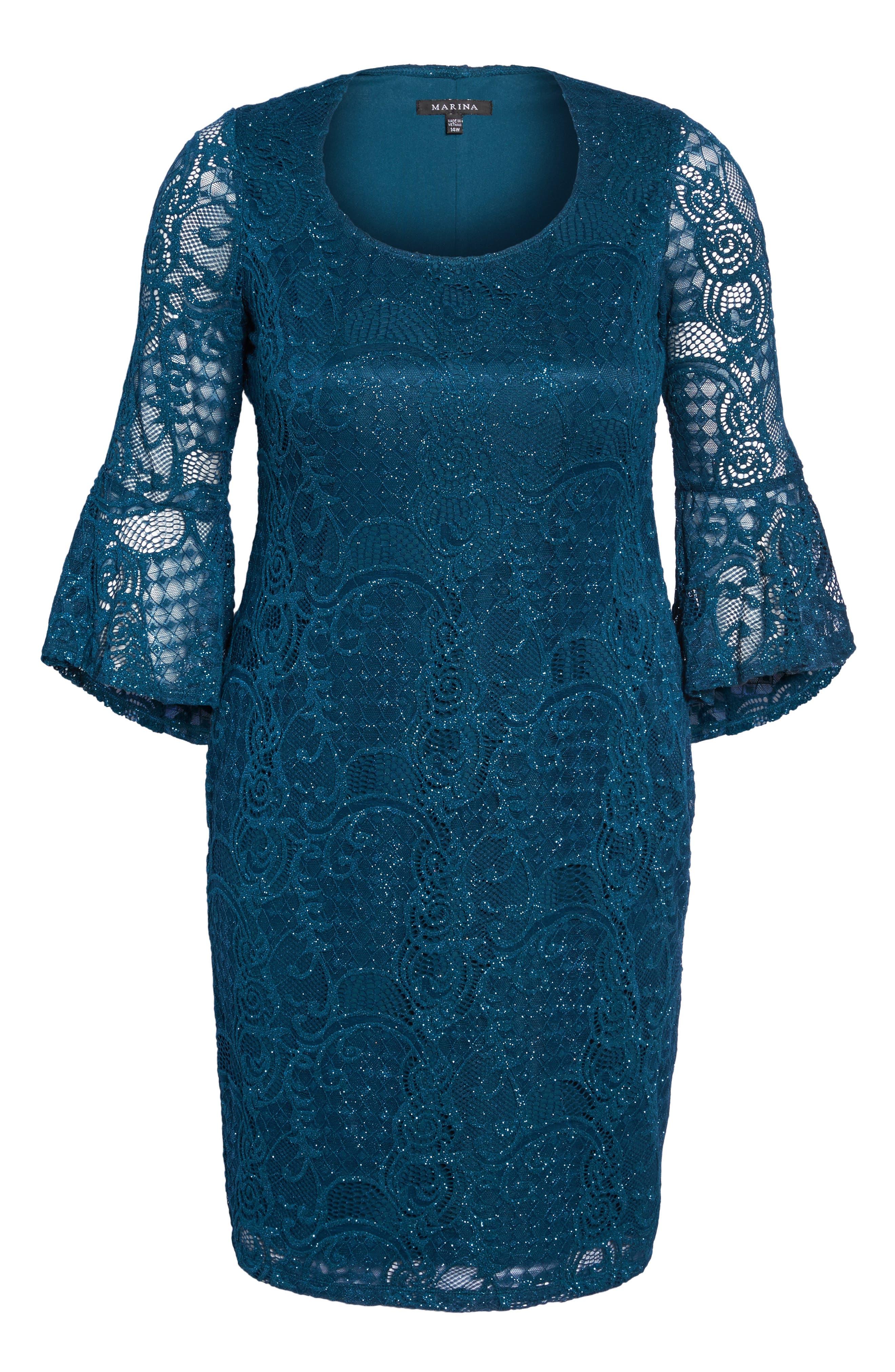 Bell Sleeve Glitter Lace Sheath Dress,                             Alternate thumbnail 6, color,                             412