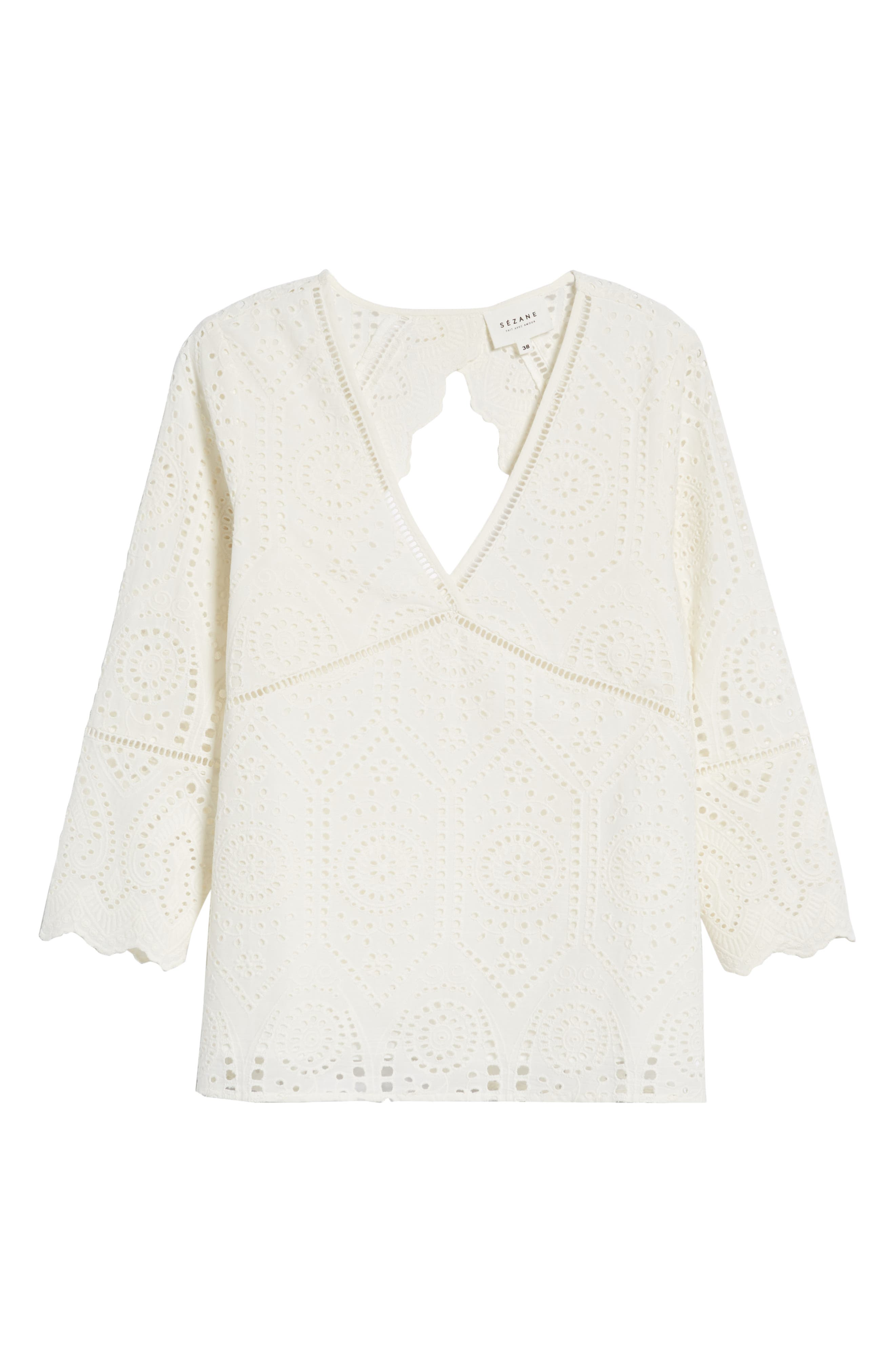Andrea Cutwork Blouse,                             Alternate thumbnail 6, color,                             100
