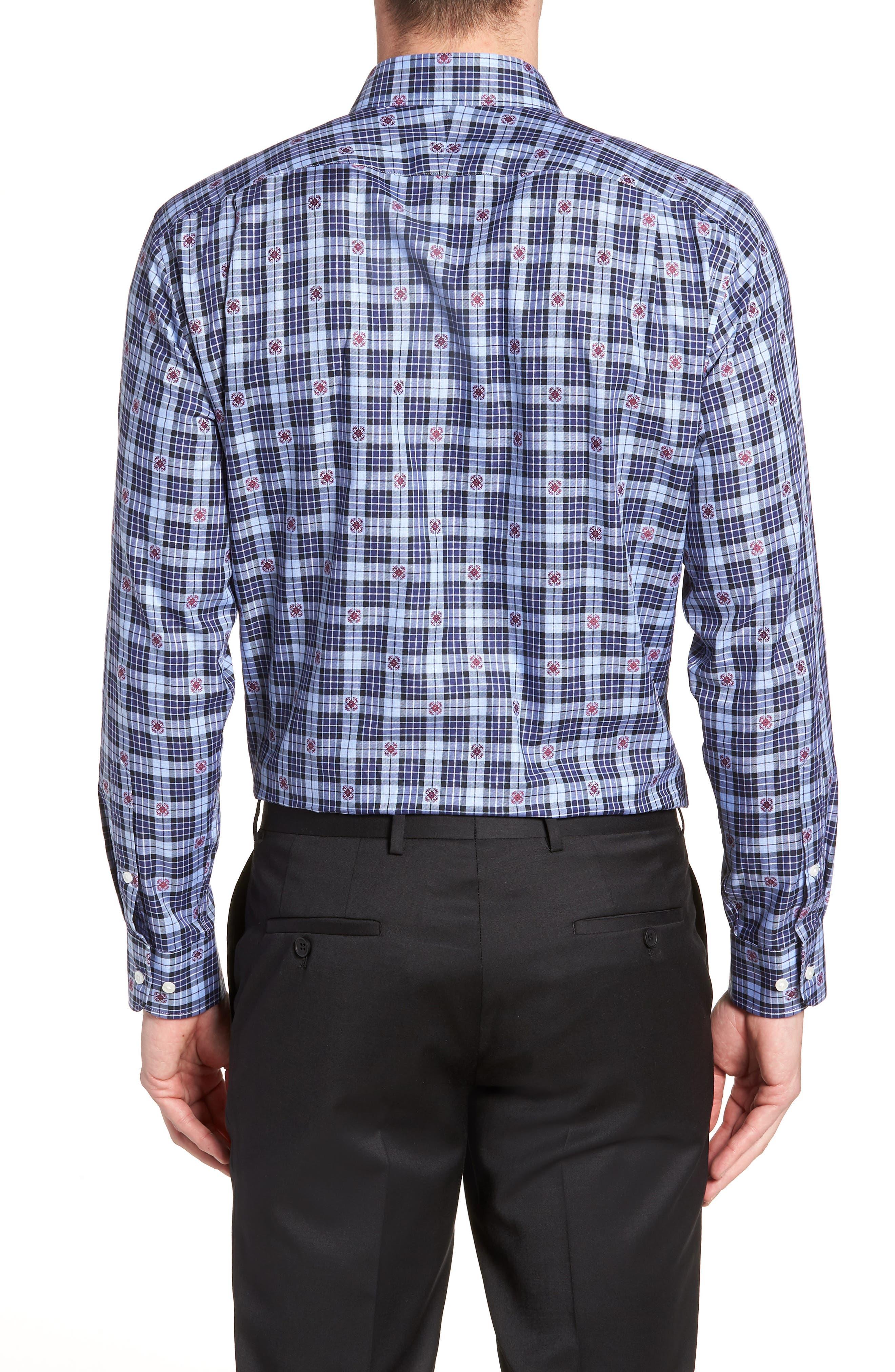Trim Fit Plaid Dress Shirt,                             Alternate thumbnail 3, color,                             410