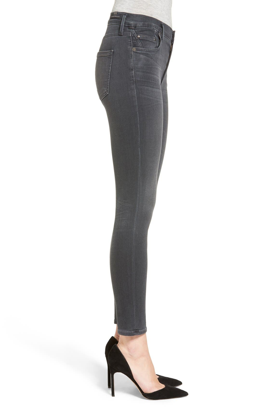 Rocket High Waist Crop Skinny Jeans,                             Alternate thumbnail 3, color,                             002