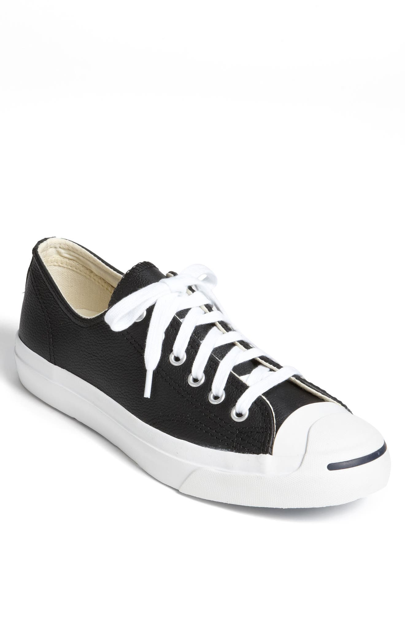 'Jack Purcell' Leather Sneaker,                             Main thumbnail 1, color,                             BLACK/ WHITE