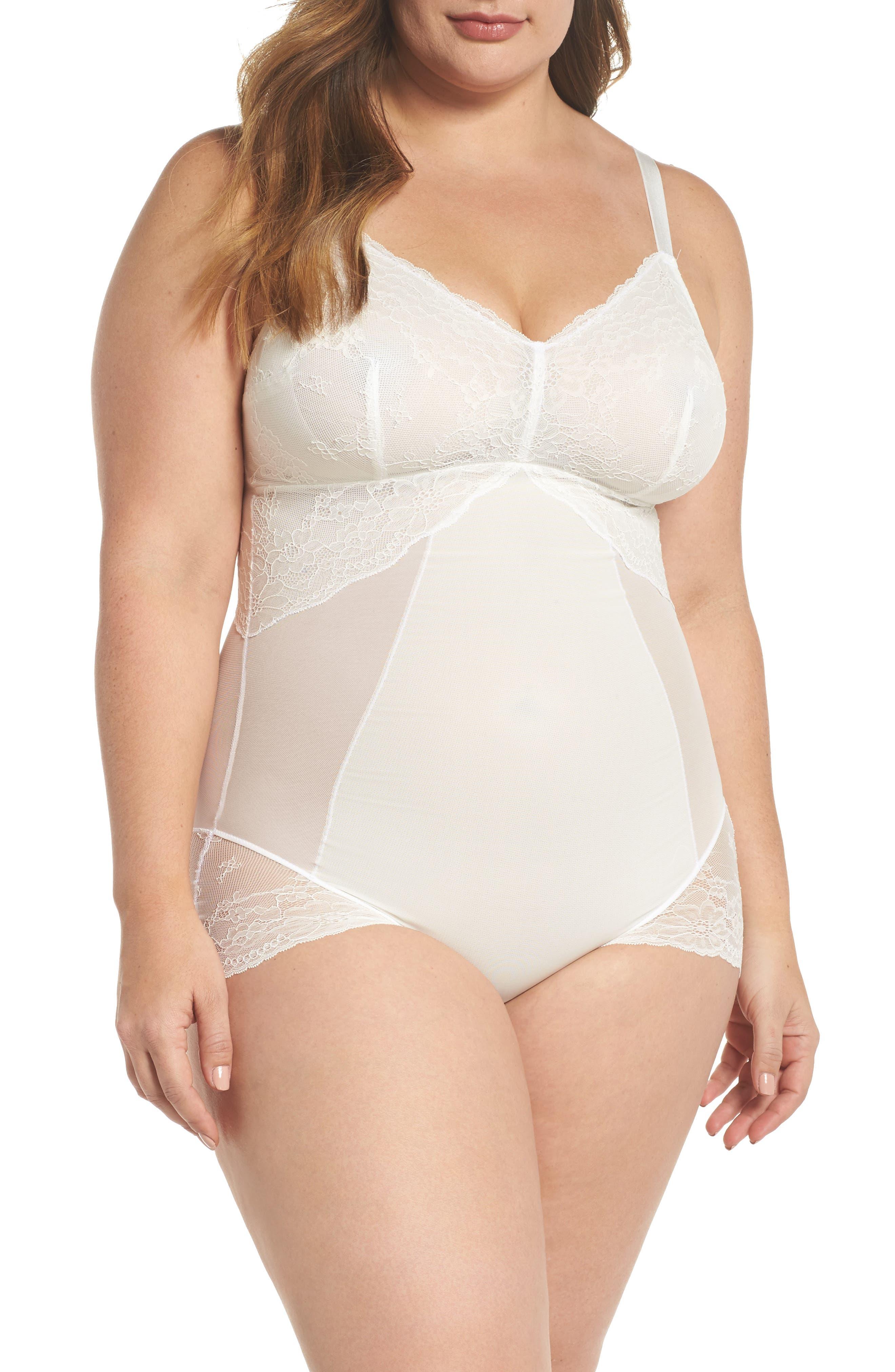 Spotlight On Lace Bodysuit,                         Main,                         color, CLEAN WHITE
