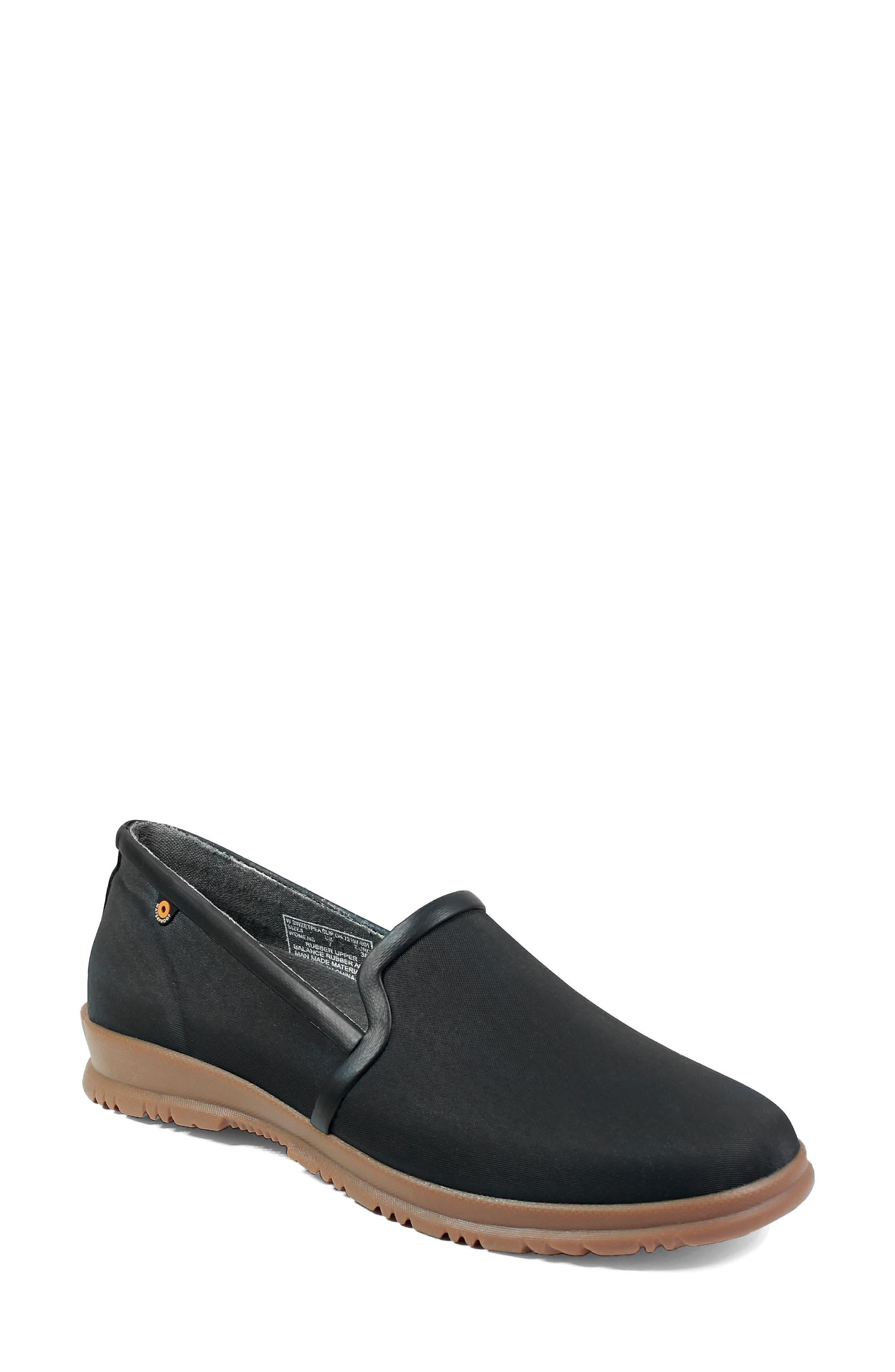 Sweetpea Waterproof Slip-On Sneaker,                             Main thumbnail 1, color,                             BLACK FABRIC