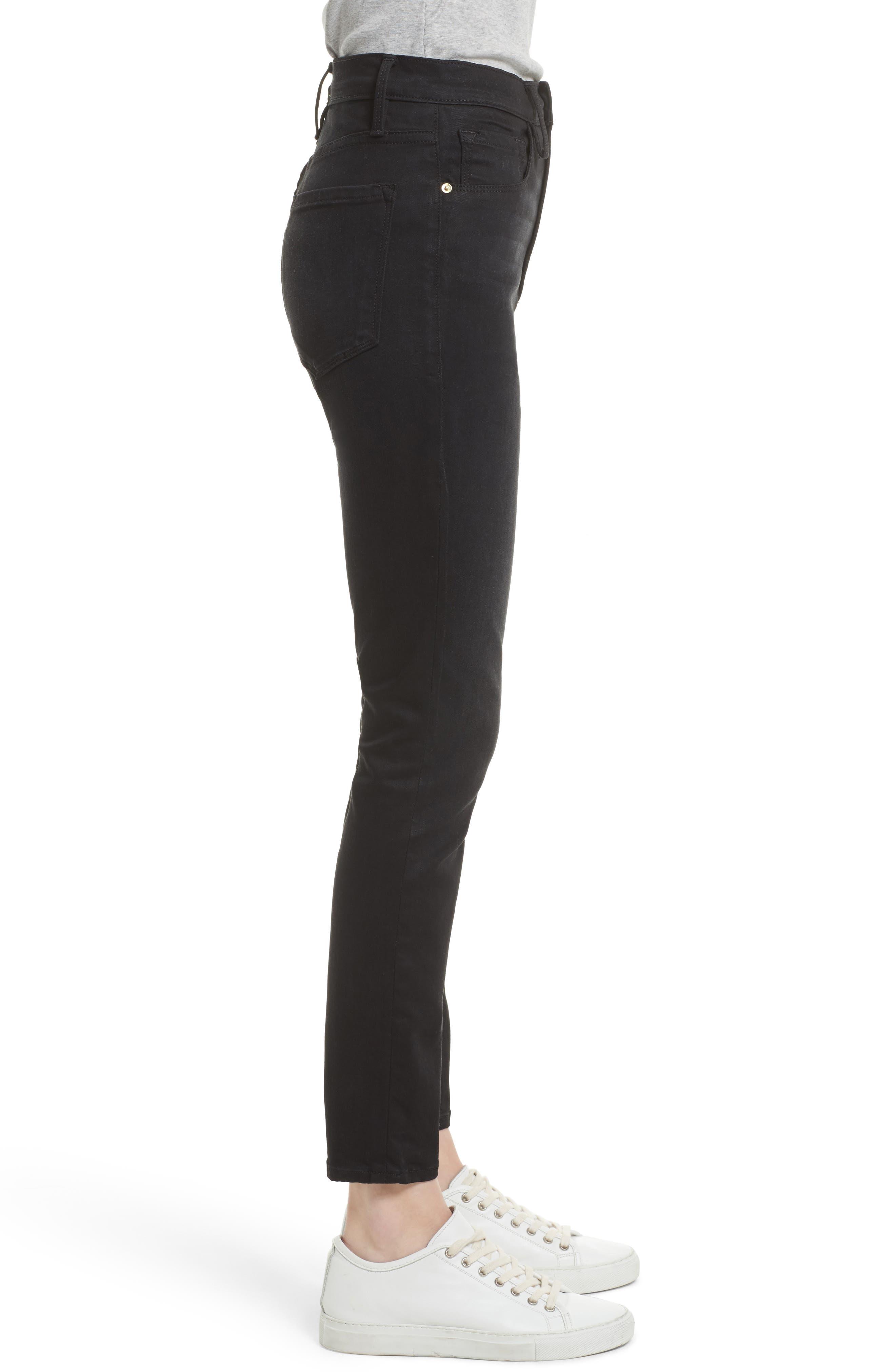 High Waist Skinny Jeans,                             Alternate thumbnail 3, color,                             NOIR