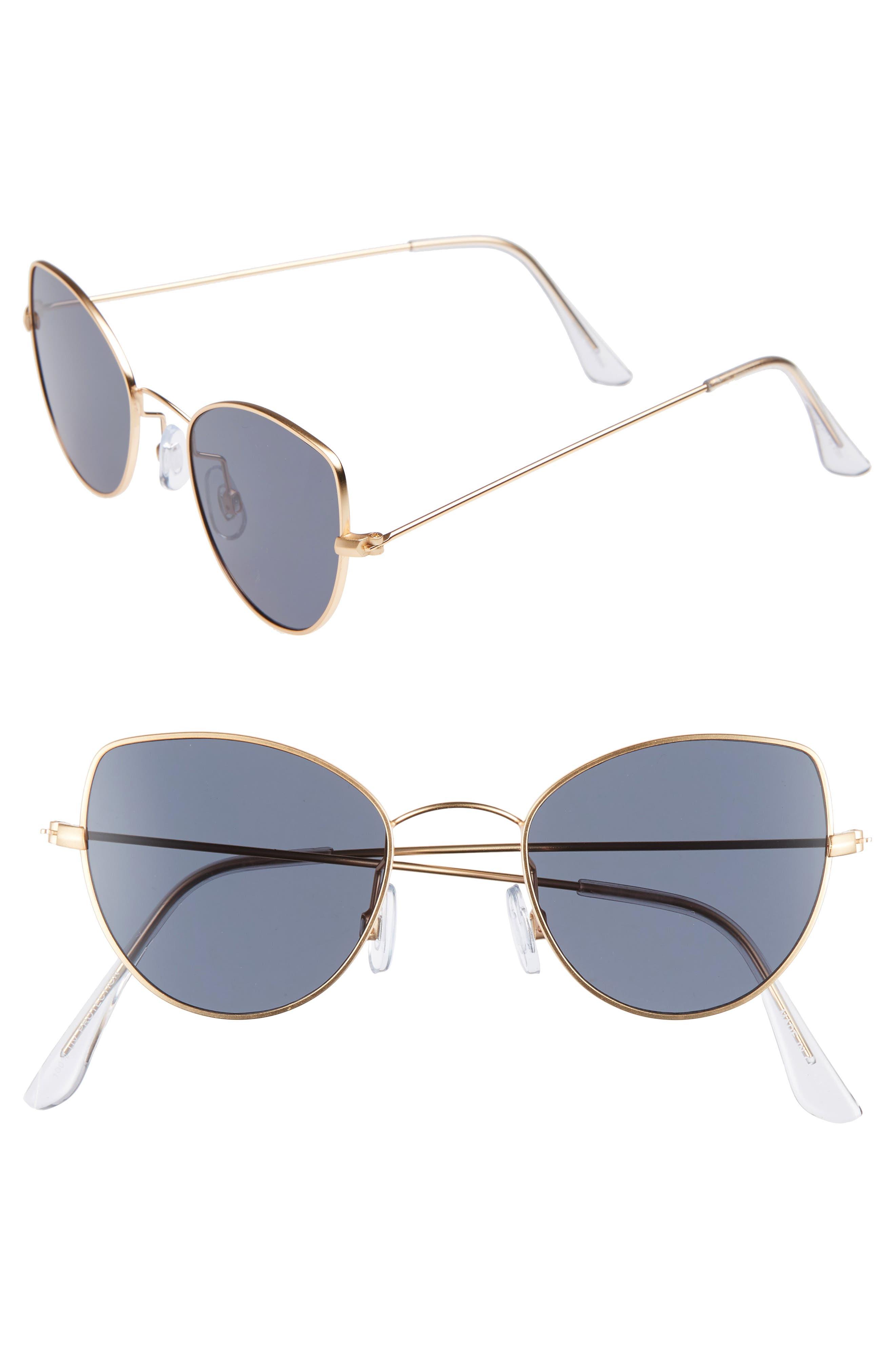 48mm Cat Eye Sunglasses,                         Main,                         color, BLACK/ GOLD