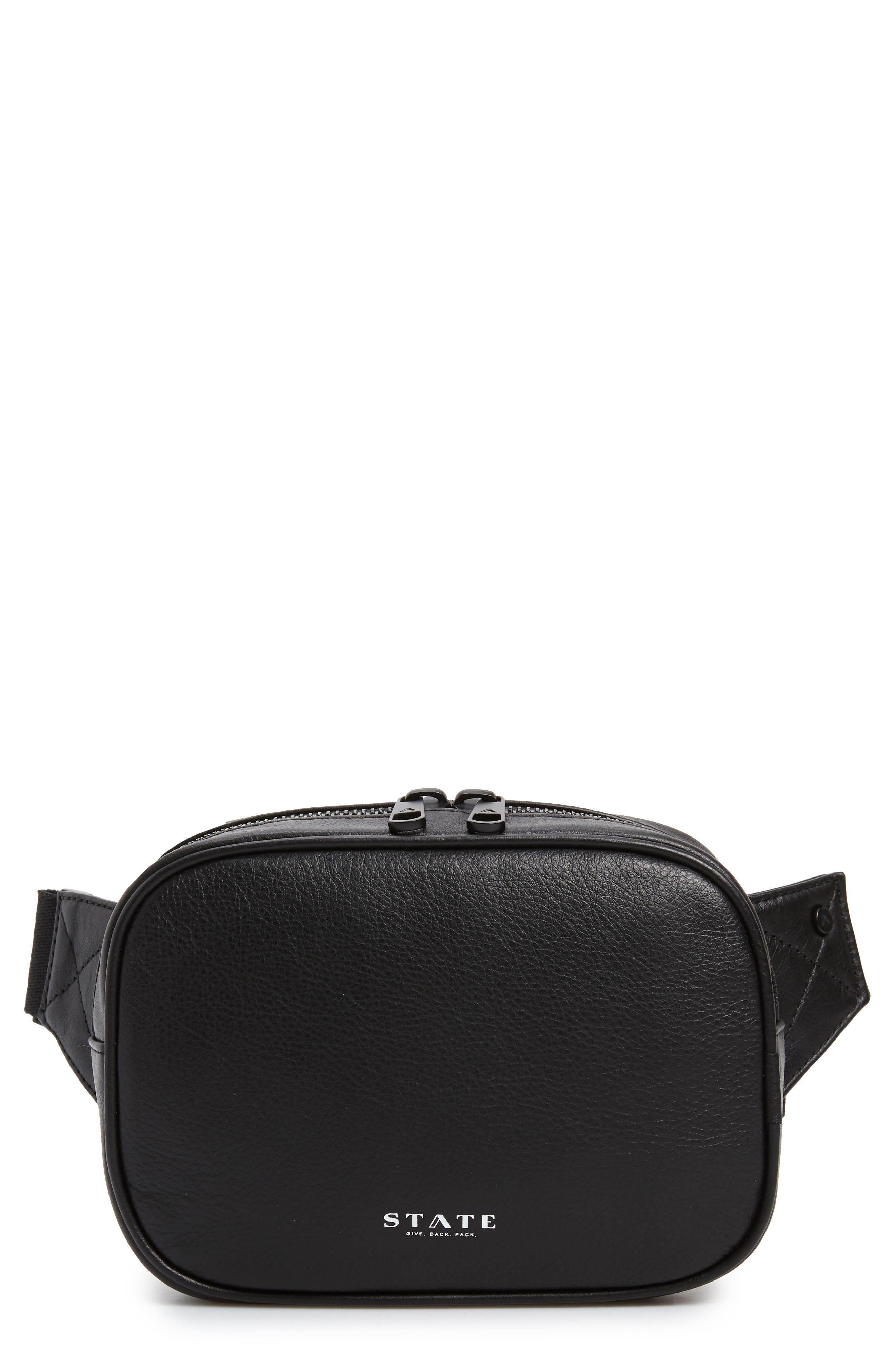 Homecrest Crosby Leather Belt Bag,                         Main,                         color, BLACK