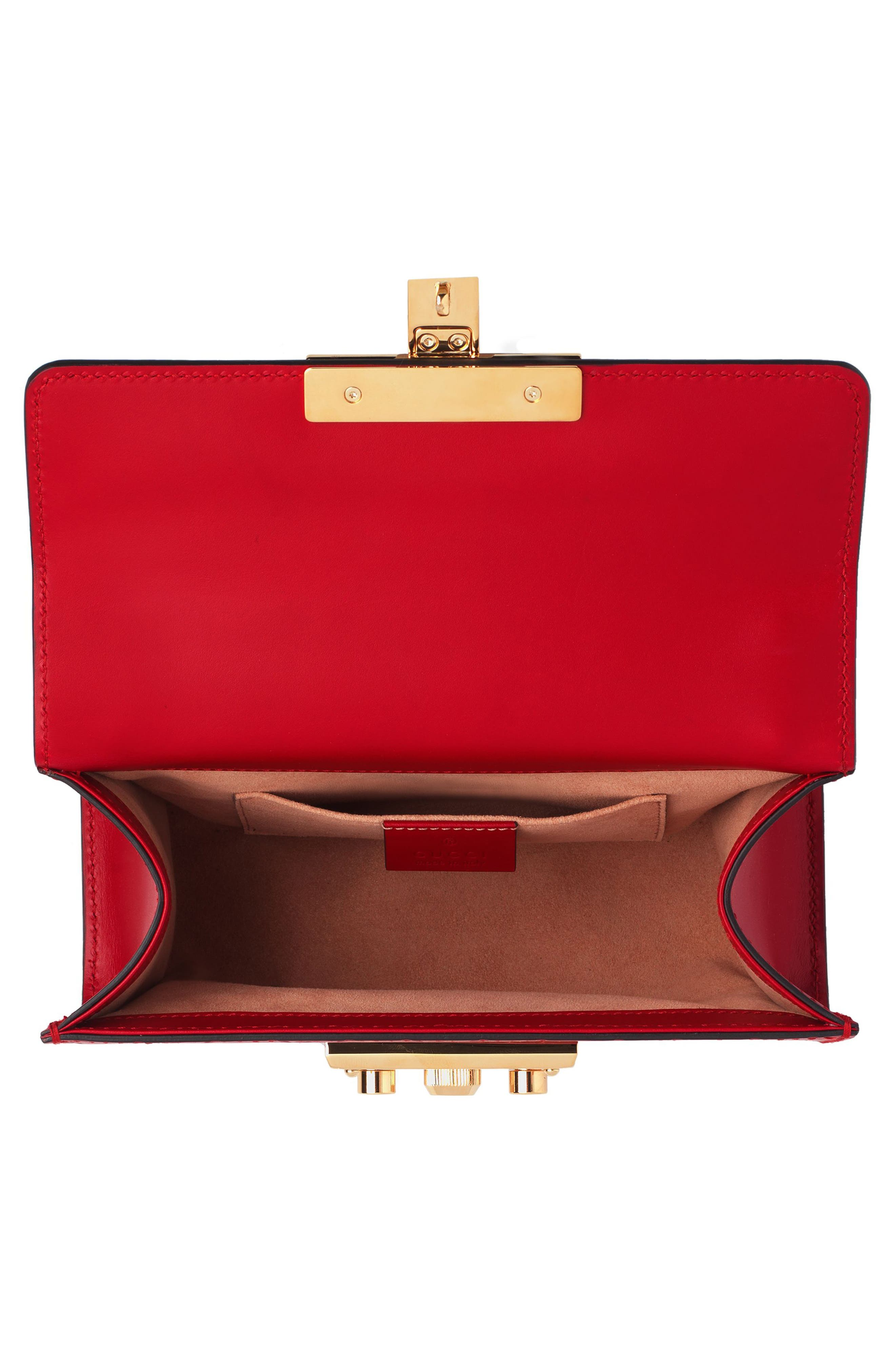 Small Padlock Signature Leather Shoulder Bag,                             Alternate thumbnail 3, color,                             HIBISCUS RED