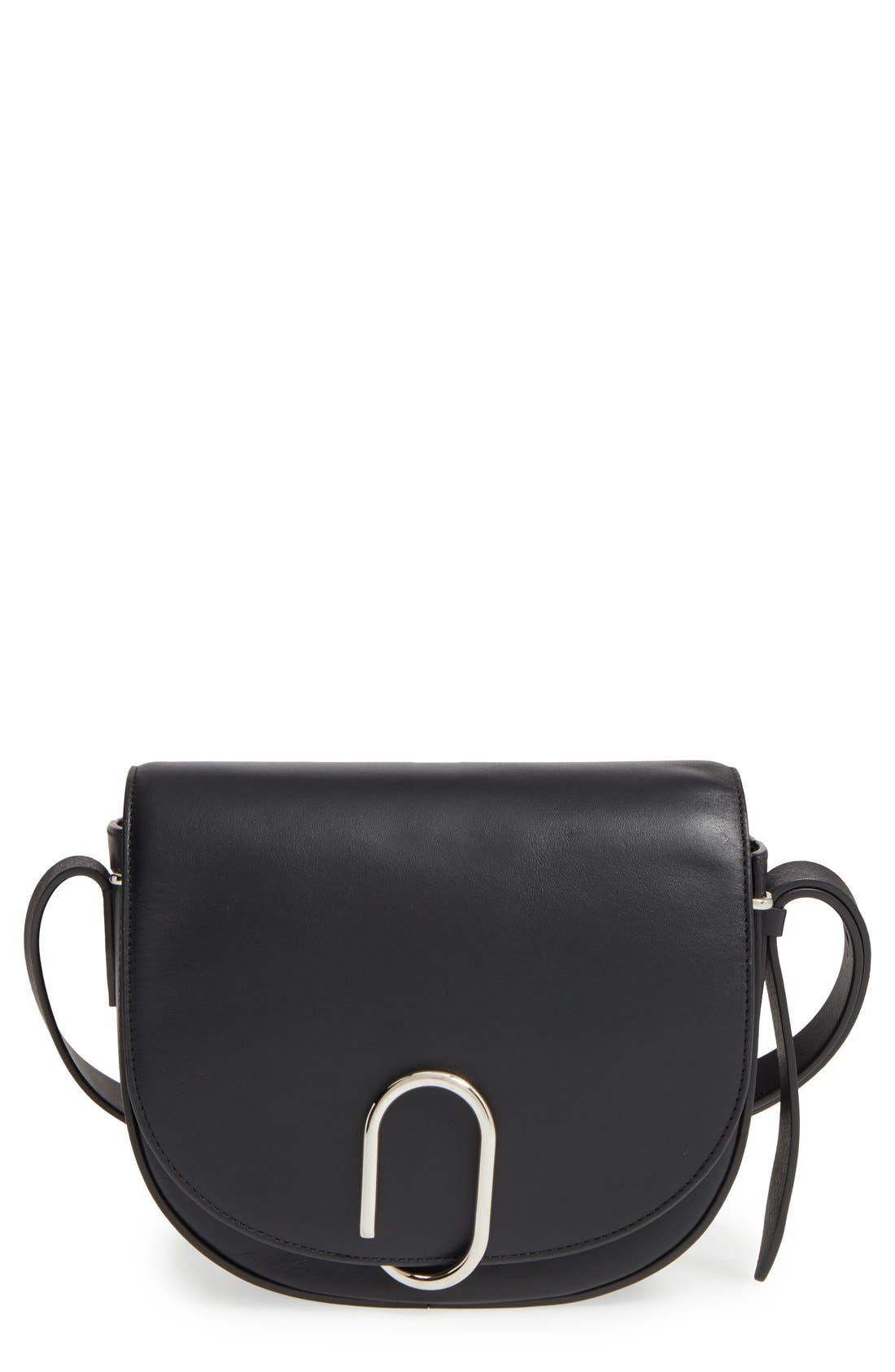 Alix Leather Saddle Bag,                         Main,                         color, 001