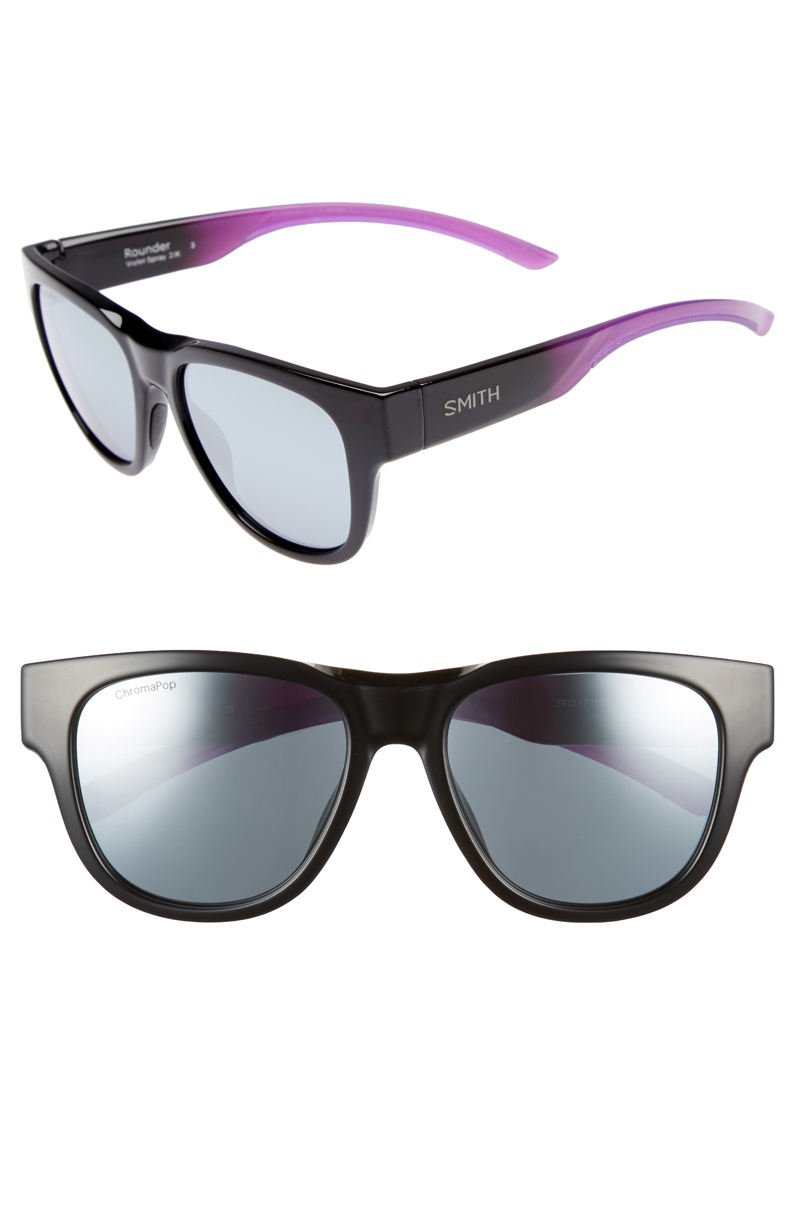 Rounder 52mm ChromaPop<sup>™</sup> Polarized Sunglasses,                         Main,                         color, VIOLET SPRAY