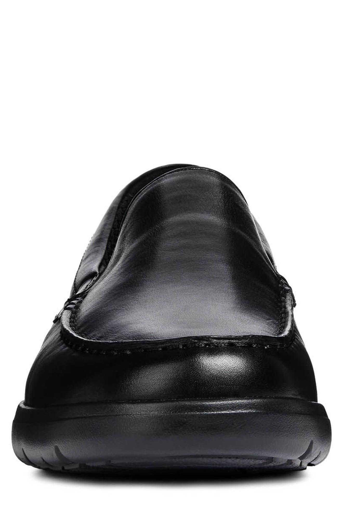 Leitan 6 Moc Toe Slip-On,                             Alternate thumbnail 4, color,                             BLACK LEATHER