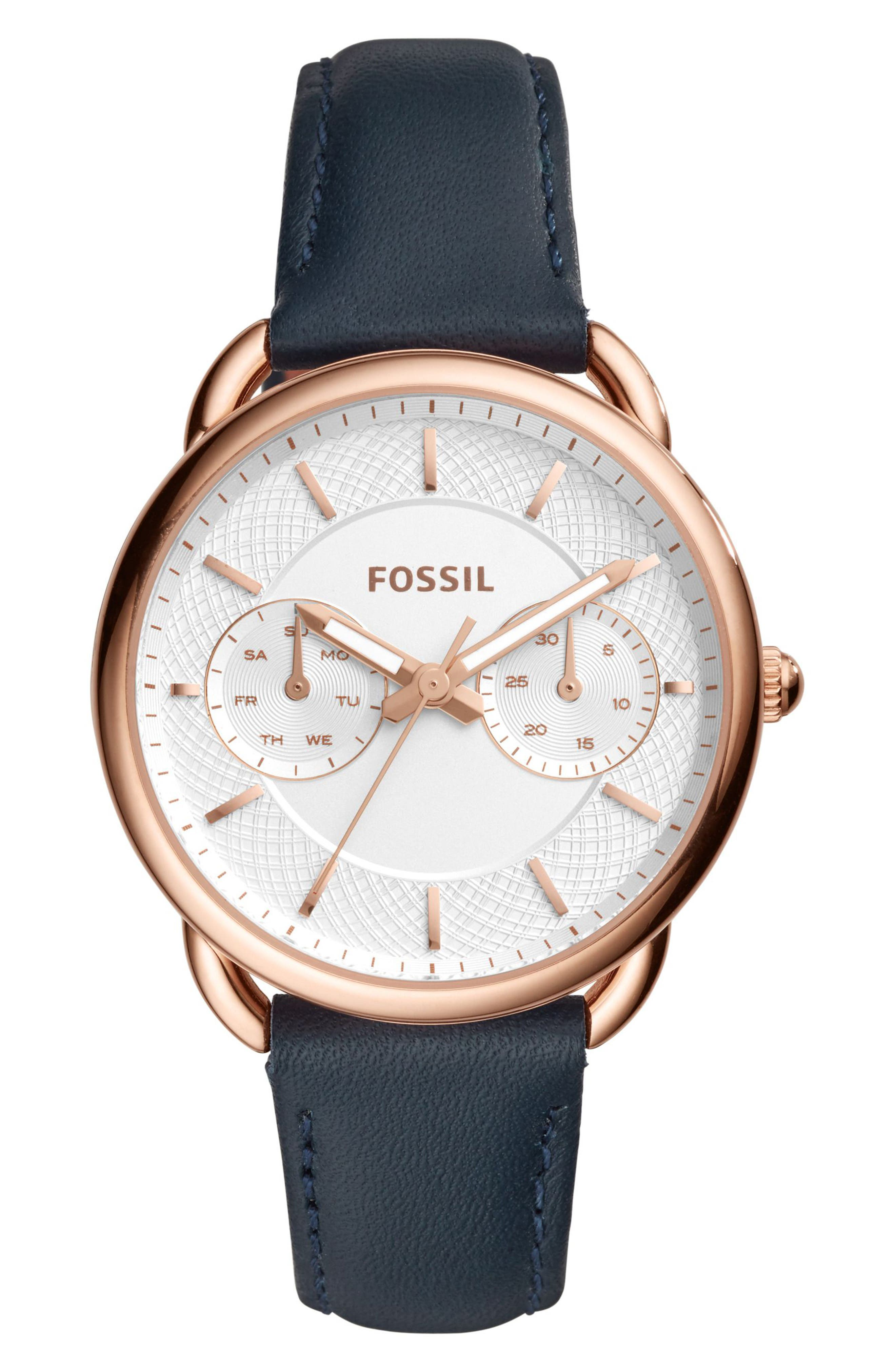 Tailor Multifunction Leather Strap Watch, 35mm,                             Main thumbnail 1, color,                             BLUE/ SILVER/ ROSE GOLD