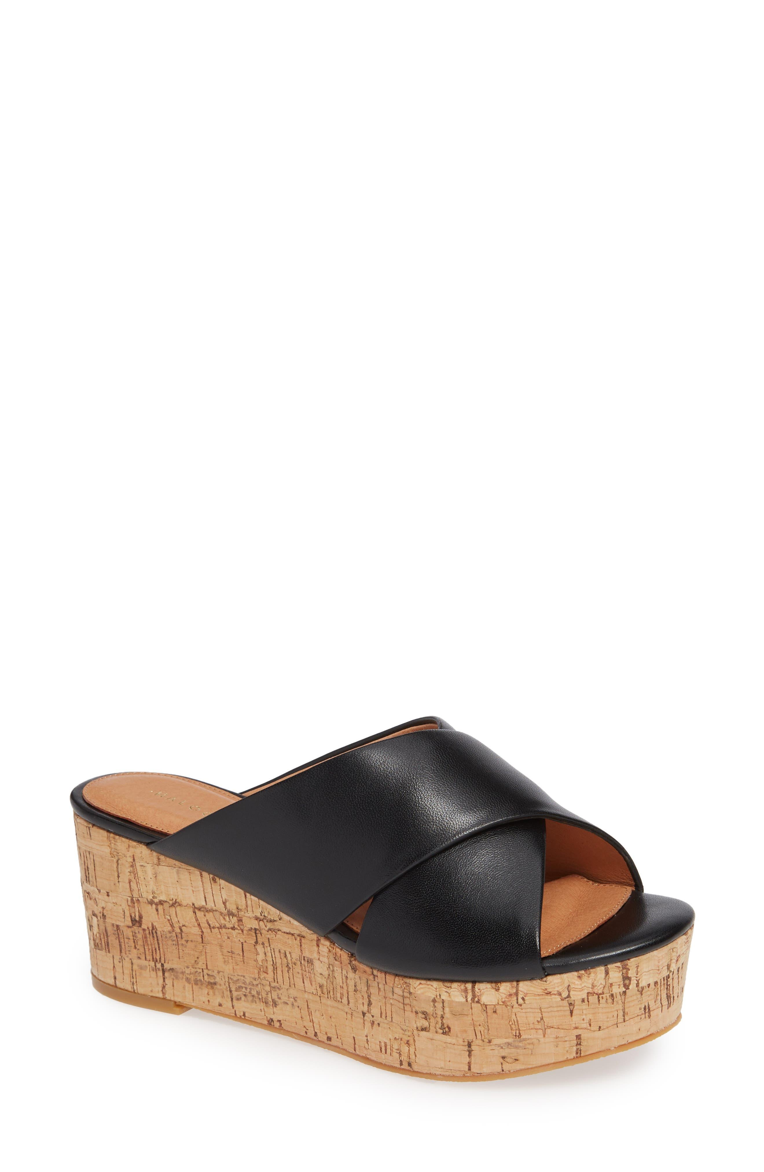Elena Platform Wedge Sandal,                         Main,                         color, BLACK LEATHER