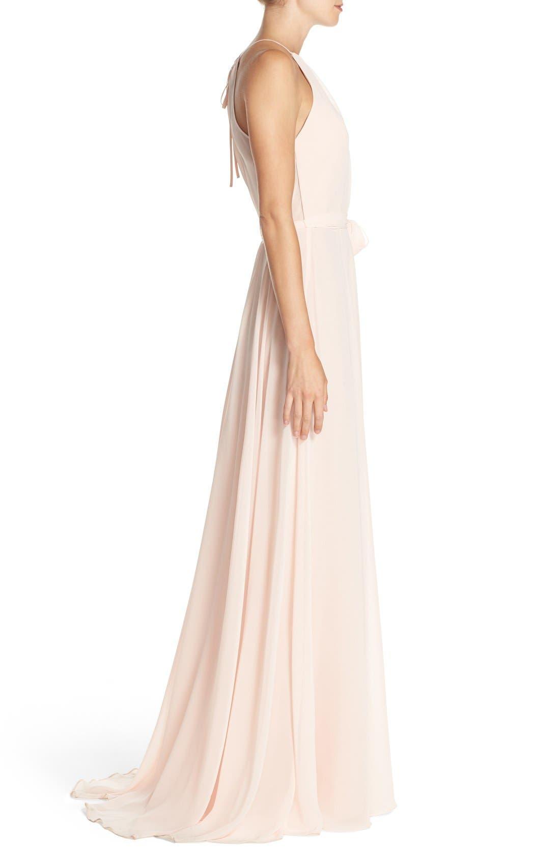 'Delaney' Belted A-Line Chiffon Halter Dress,                             Alternate thumbnail 8, color,