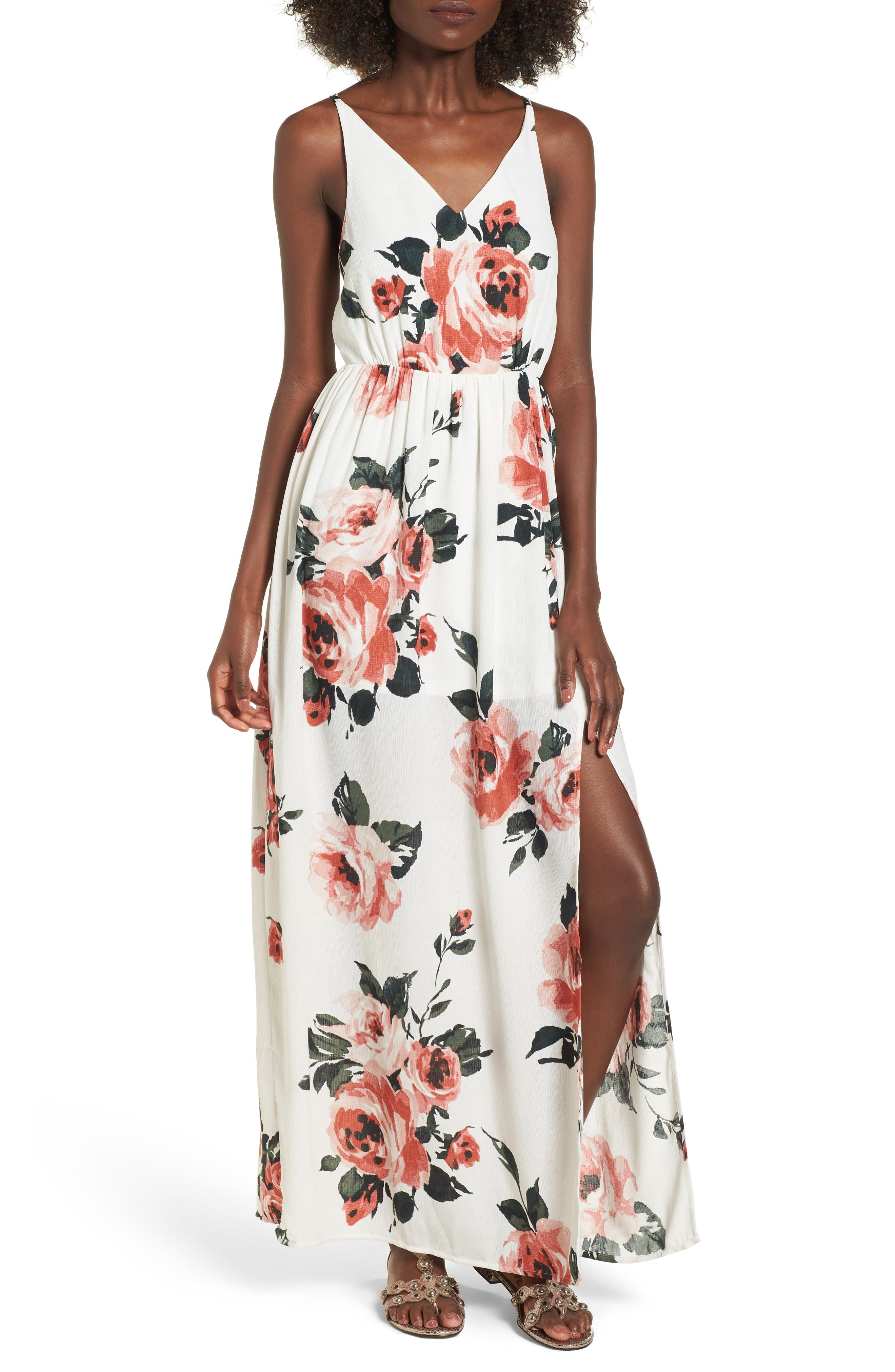 Floral Print Maxi Dress,                             Main thumbnail 1, color,                             100