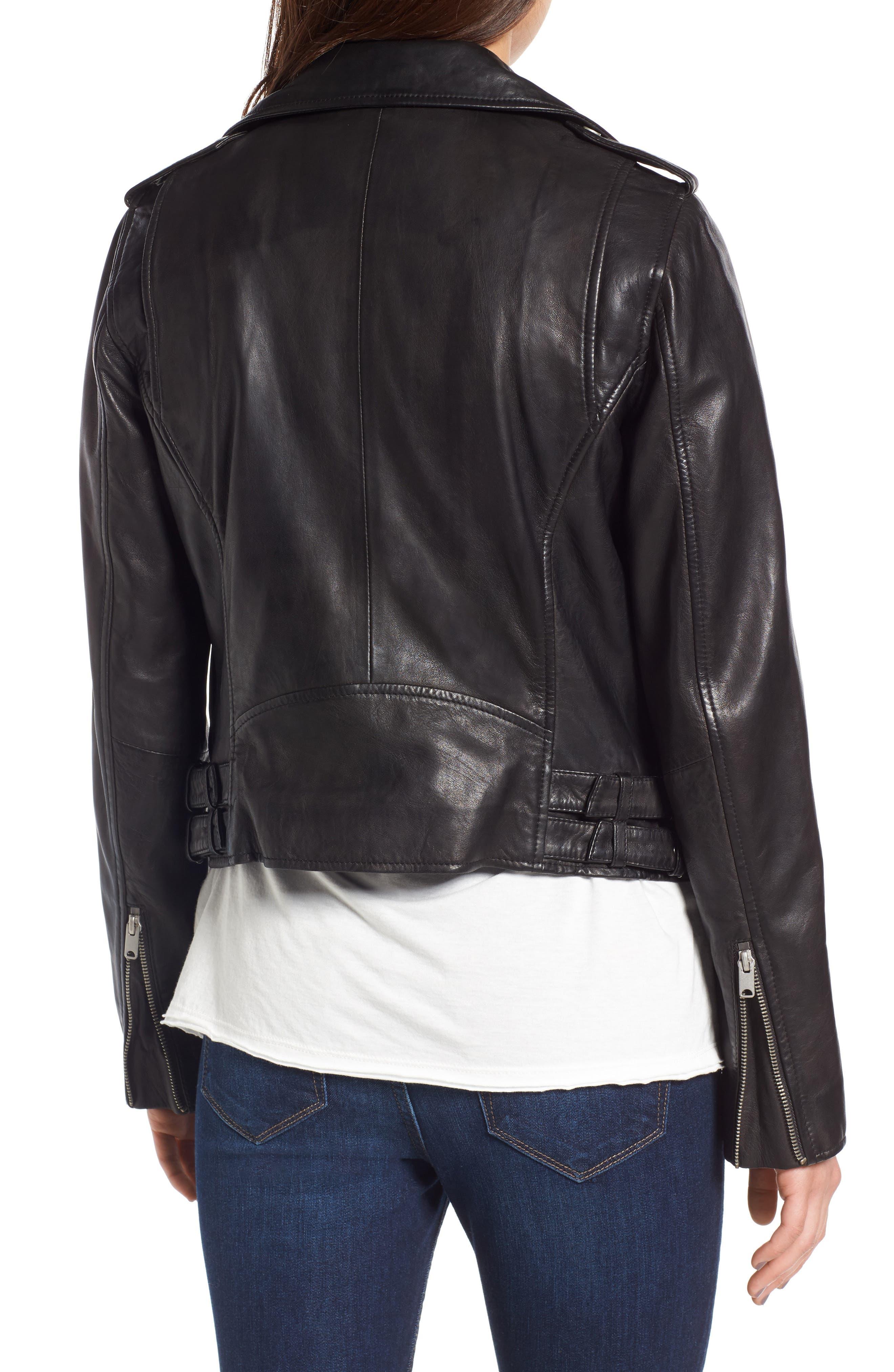 Andrew Marc Wesley Washed Leather Biker Jacket,                             Alternate thumbnail 2, color,                             001