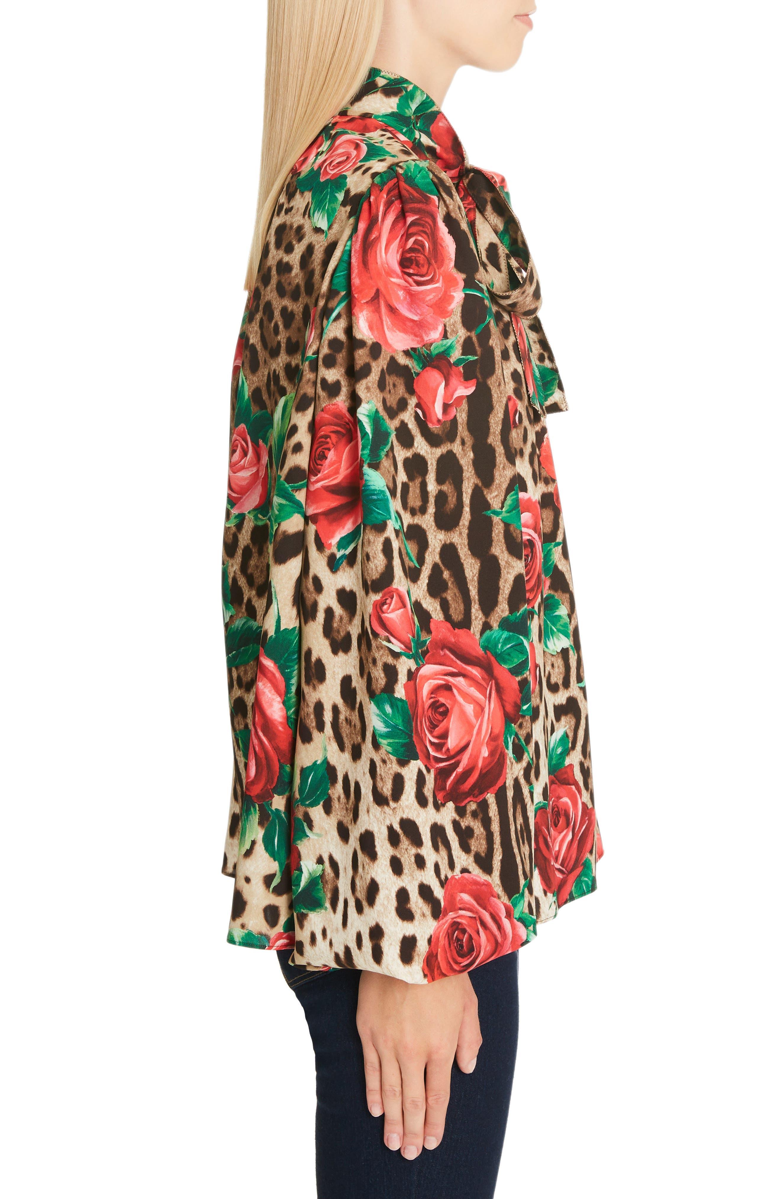 Rose & Leopard Print Tie Neck Stretch Silk Blouse,                             Alternate thumbnail 3, color,                             HKIRS ROSE LEO