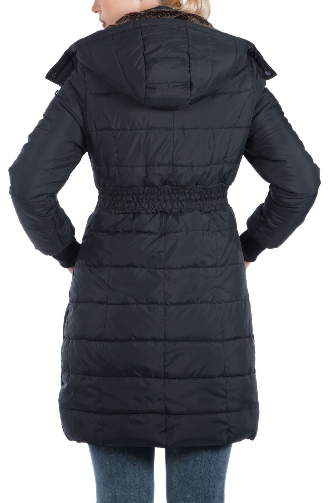 Madison Quilted 3-in-1 Maternity Puffer Coat with Faux Fur Trim,                             Alternate thumbnail 8, color,                             BLACK