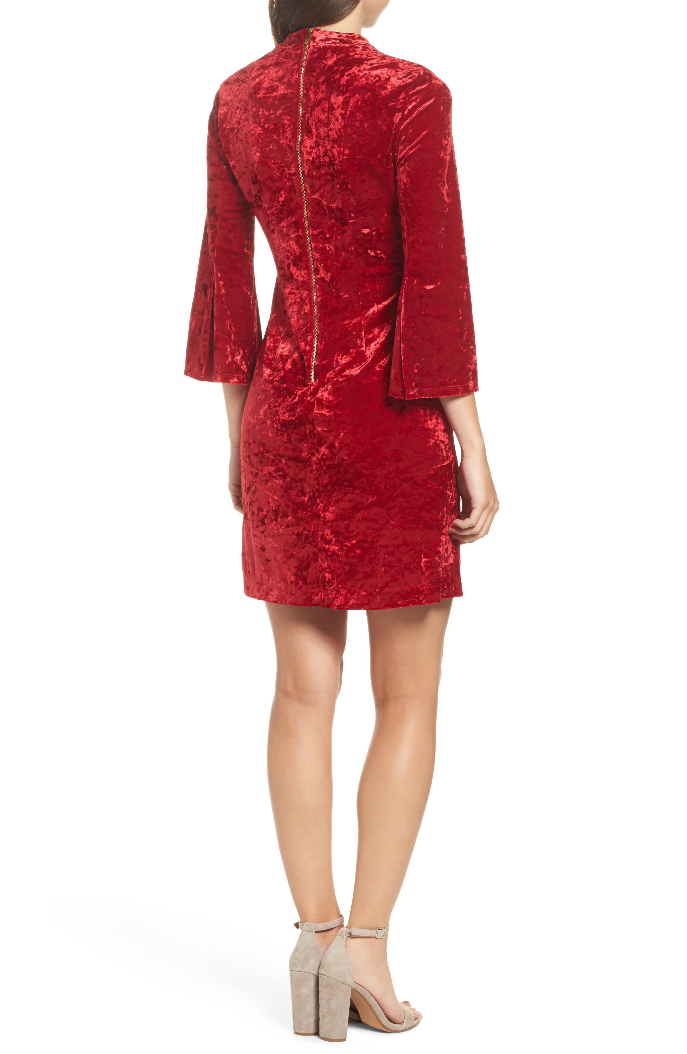 Crushed Velvet Choker Dress,                             Alternate thumbnail 2, color,                             600