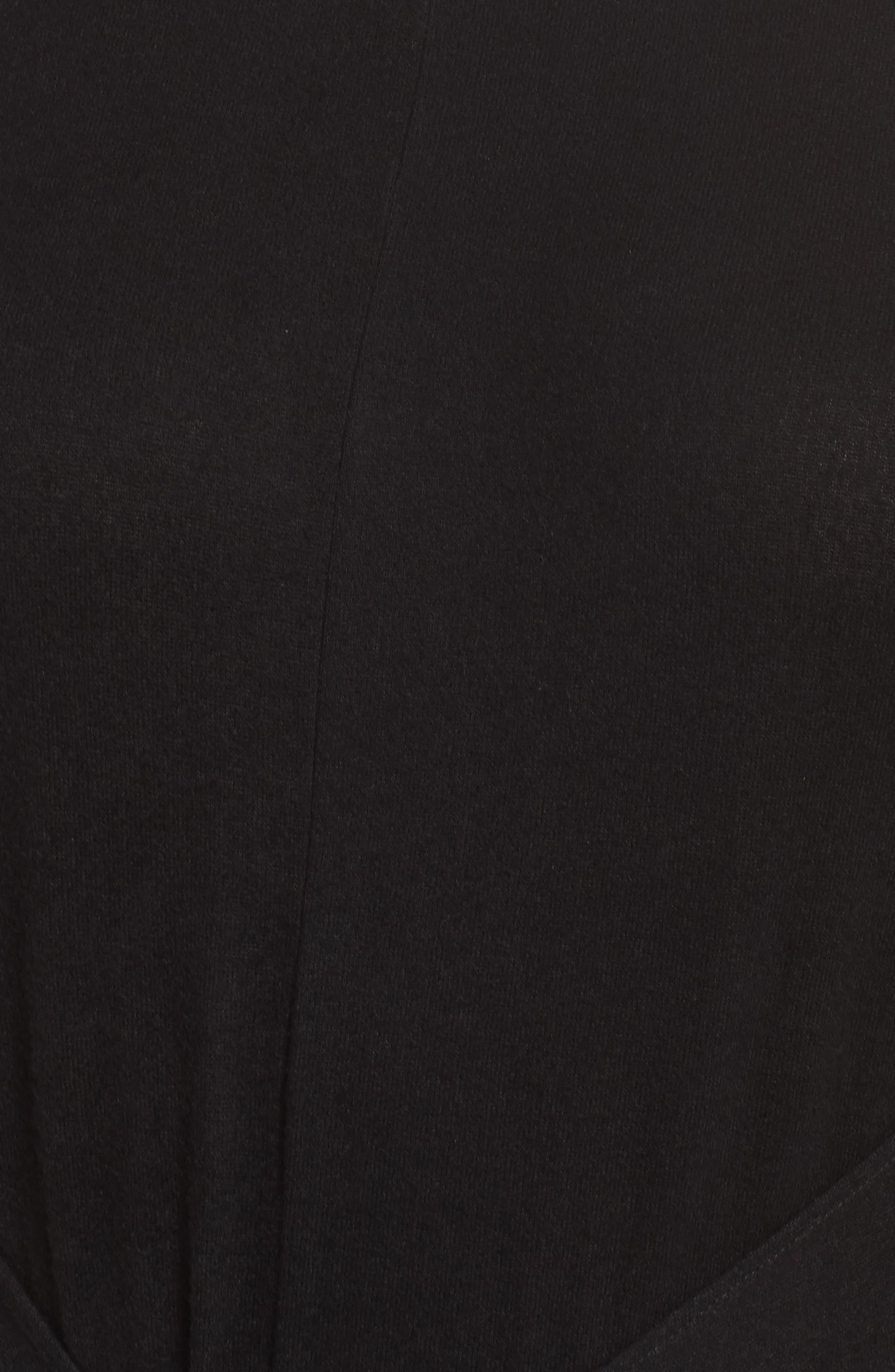 Off-Duty Tie Front Knit Dress,                             Alternate thumbnail 6, color,                             001