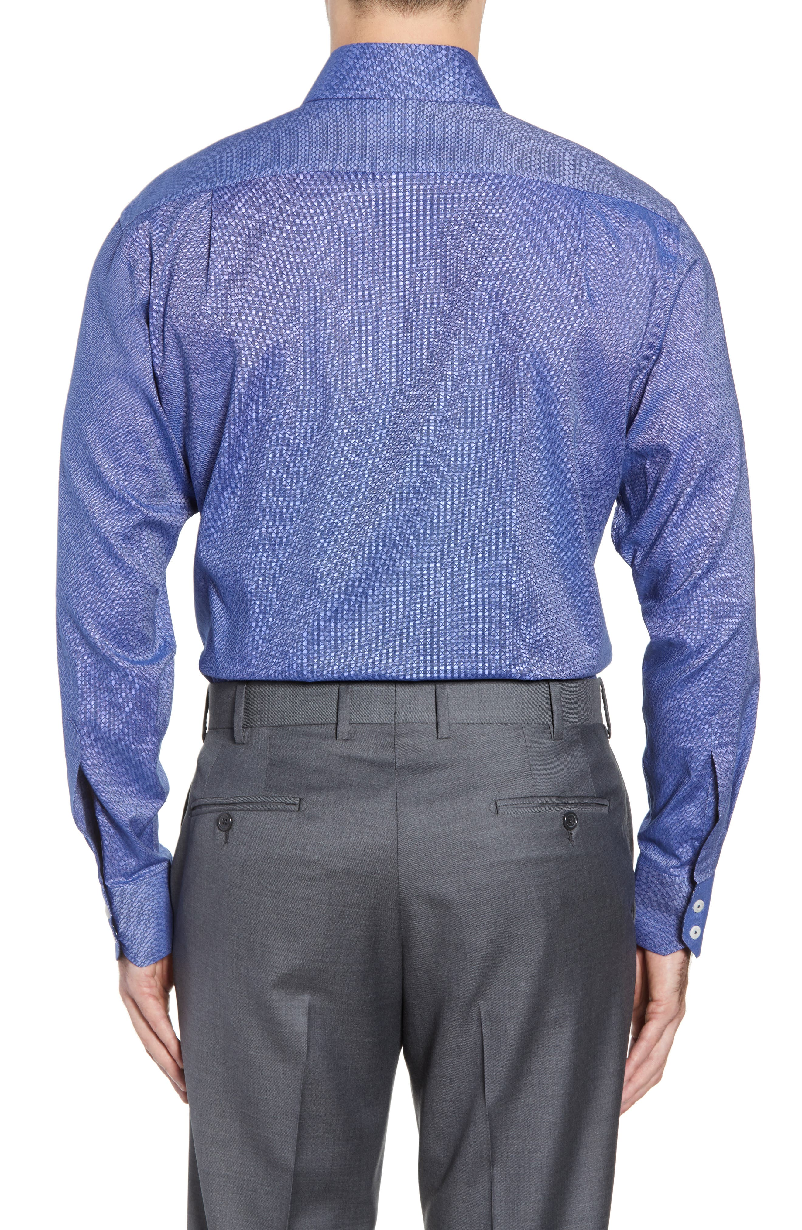 Pattern Regular Fit Dress Shirt,                             Alternate thumbnail 3, color,                             NAVY