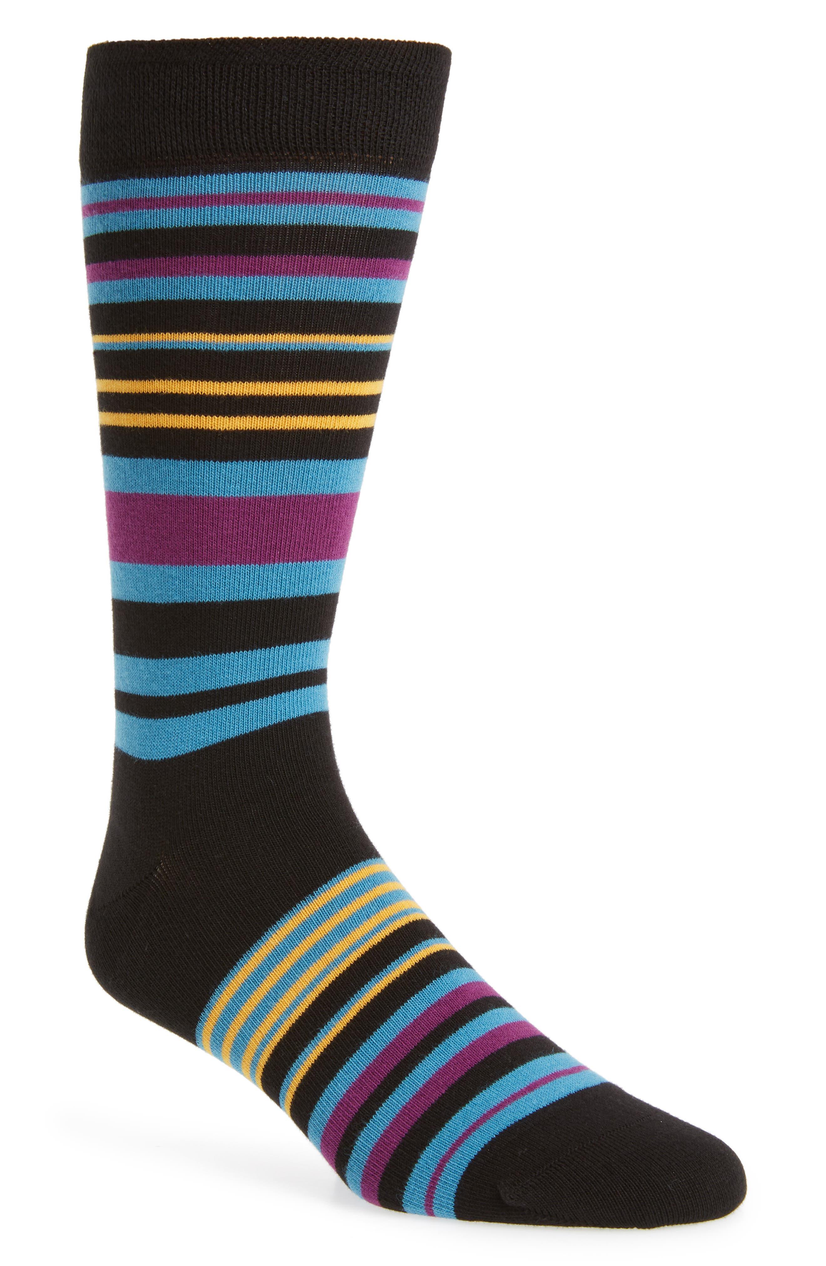 Sisma Stripe Socks,                         Main,                         color, BLACK