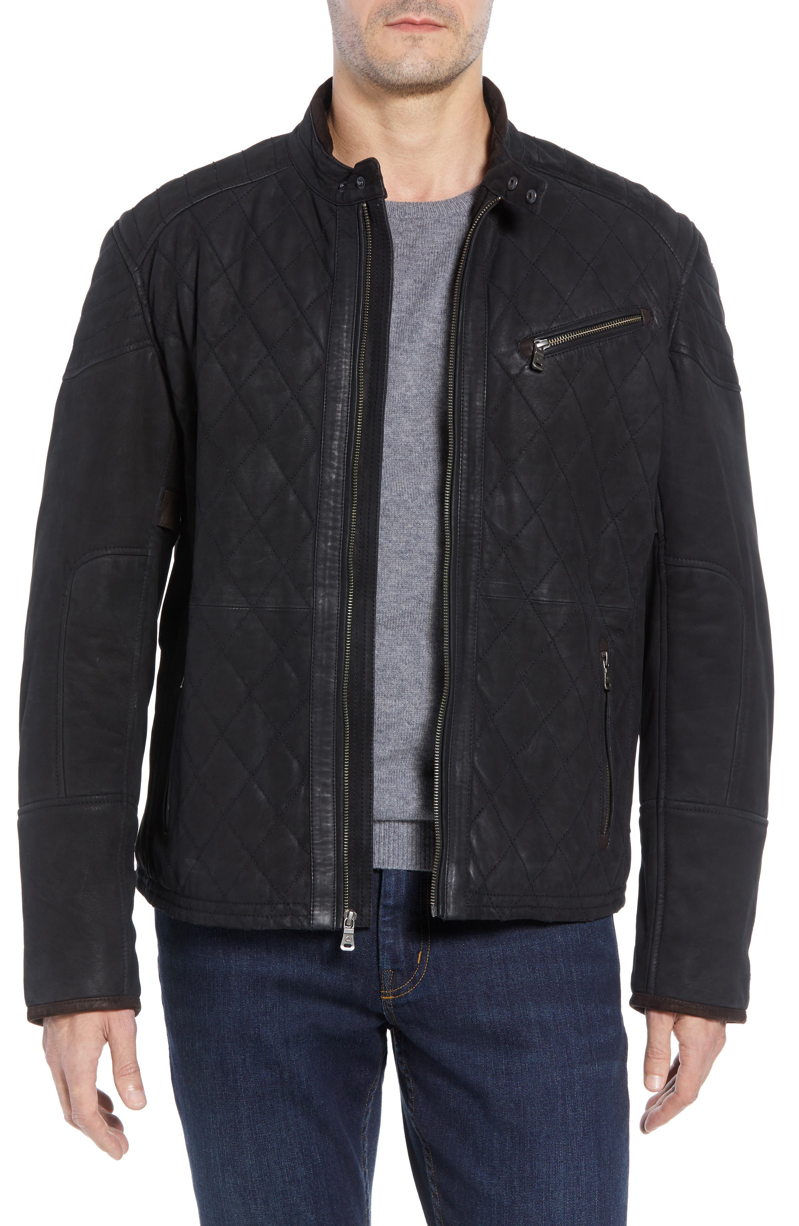 Quilted Leather Moto Jacket,                             Main thumbnail 1, color,