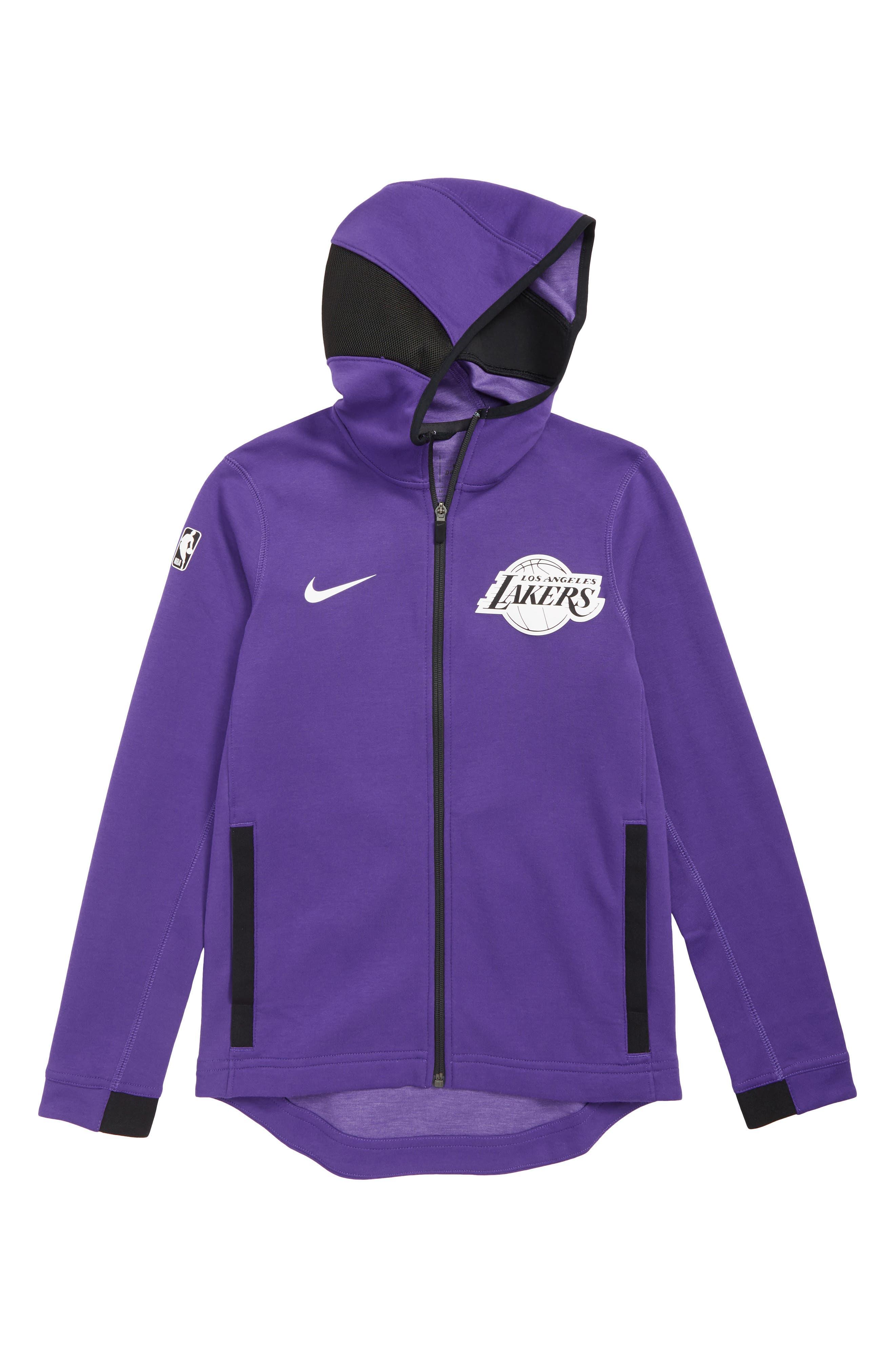 NIKE Los Angeles Lakers Showtime Dri-FIT Hoodie, Main, color, PURPLE