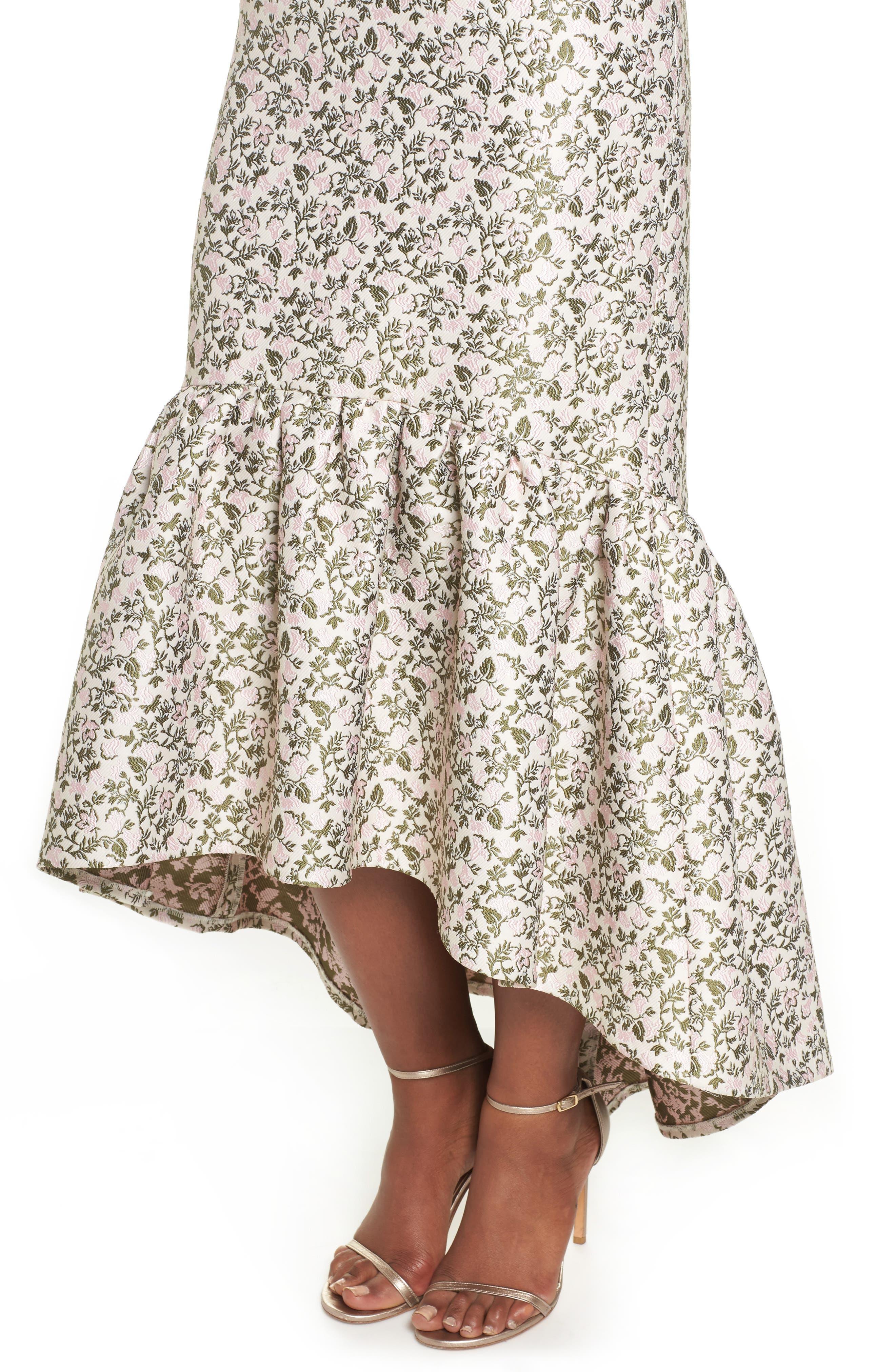 Jacquard High/Low Midi Dress,                             Alternate thumbnail 4, color,